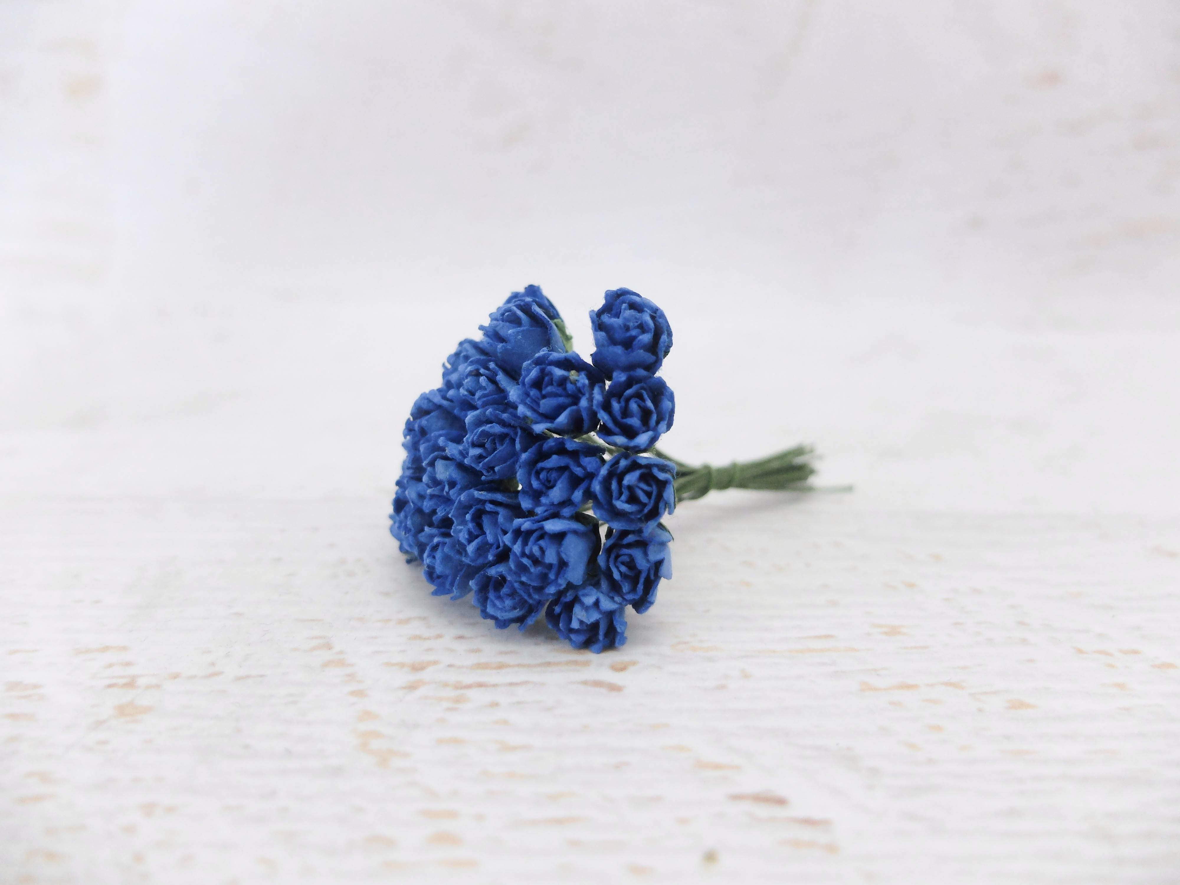 10mm paper flower buds - 50 pcs - mulberry paper flower with wire ...
