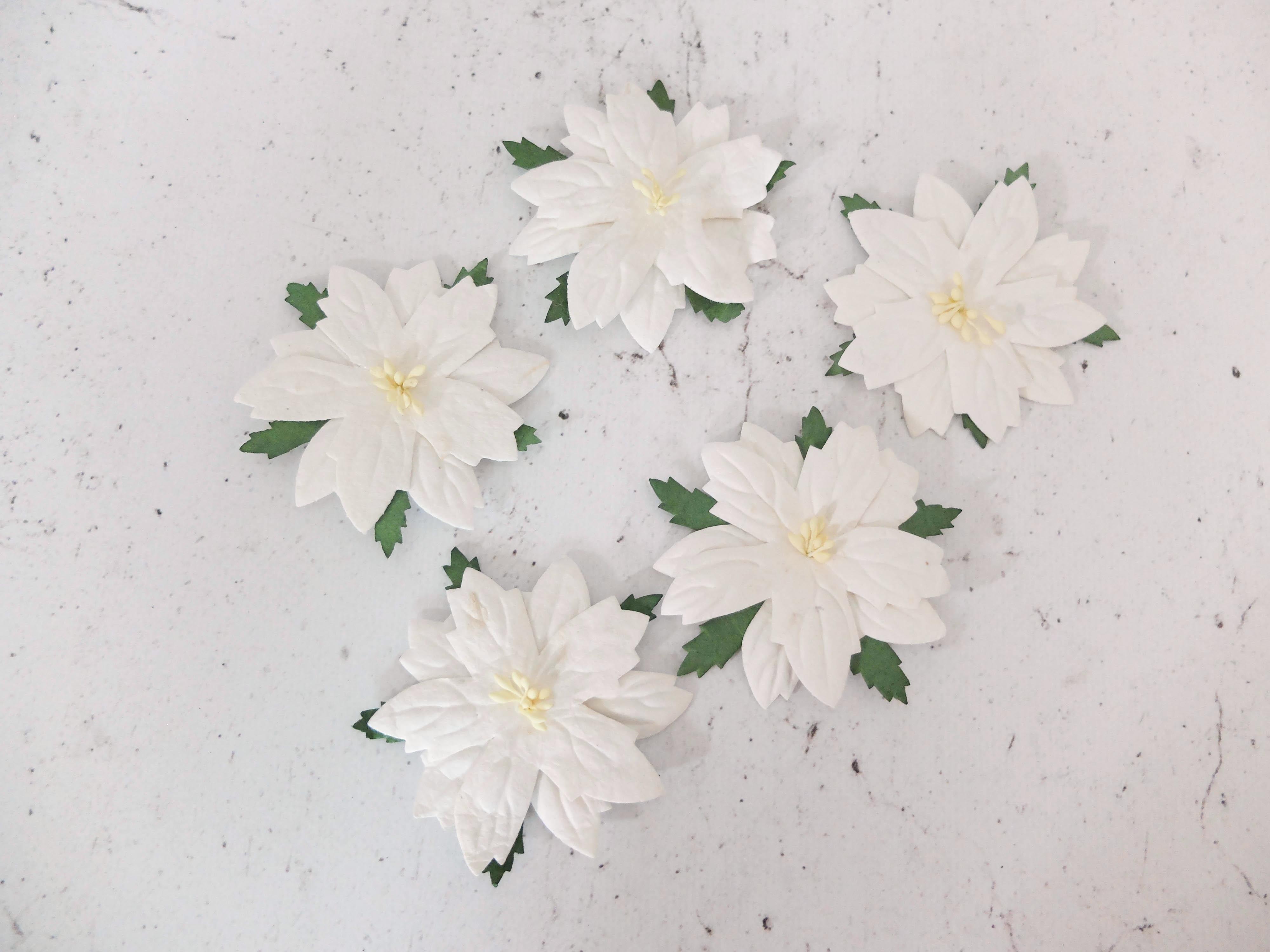 6 Cm Paper Poinsettia White Flat Christmas Flowers Embellishments