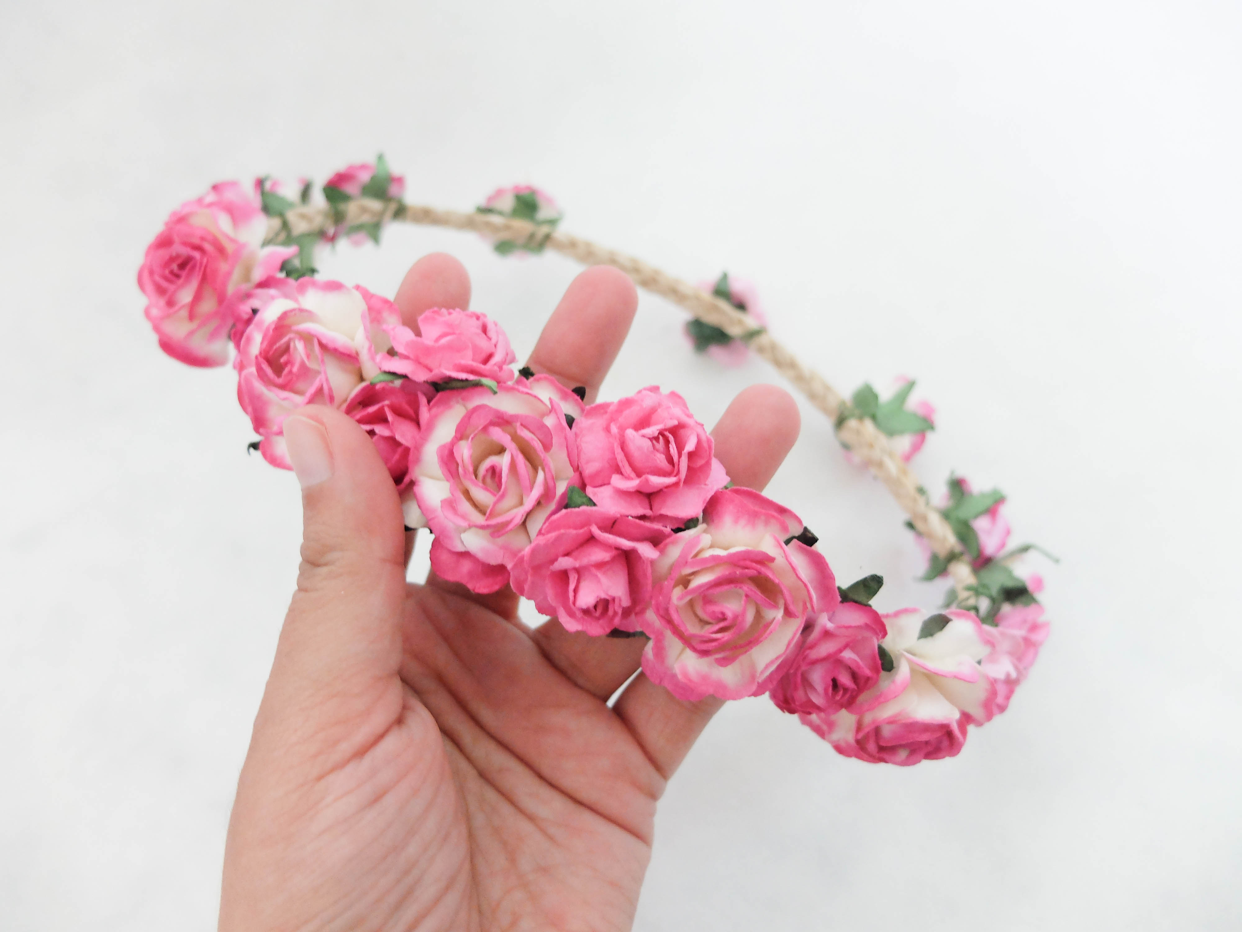 Hot pink bridal flower crown hair garland wedding accessories hot pink bridal flower crown izmirmasajfo Image collections