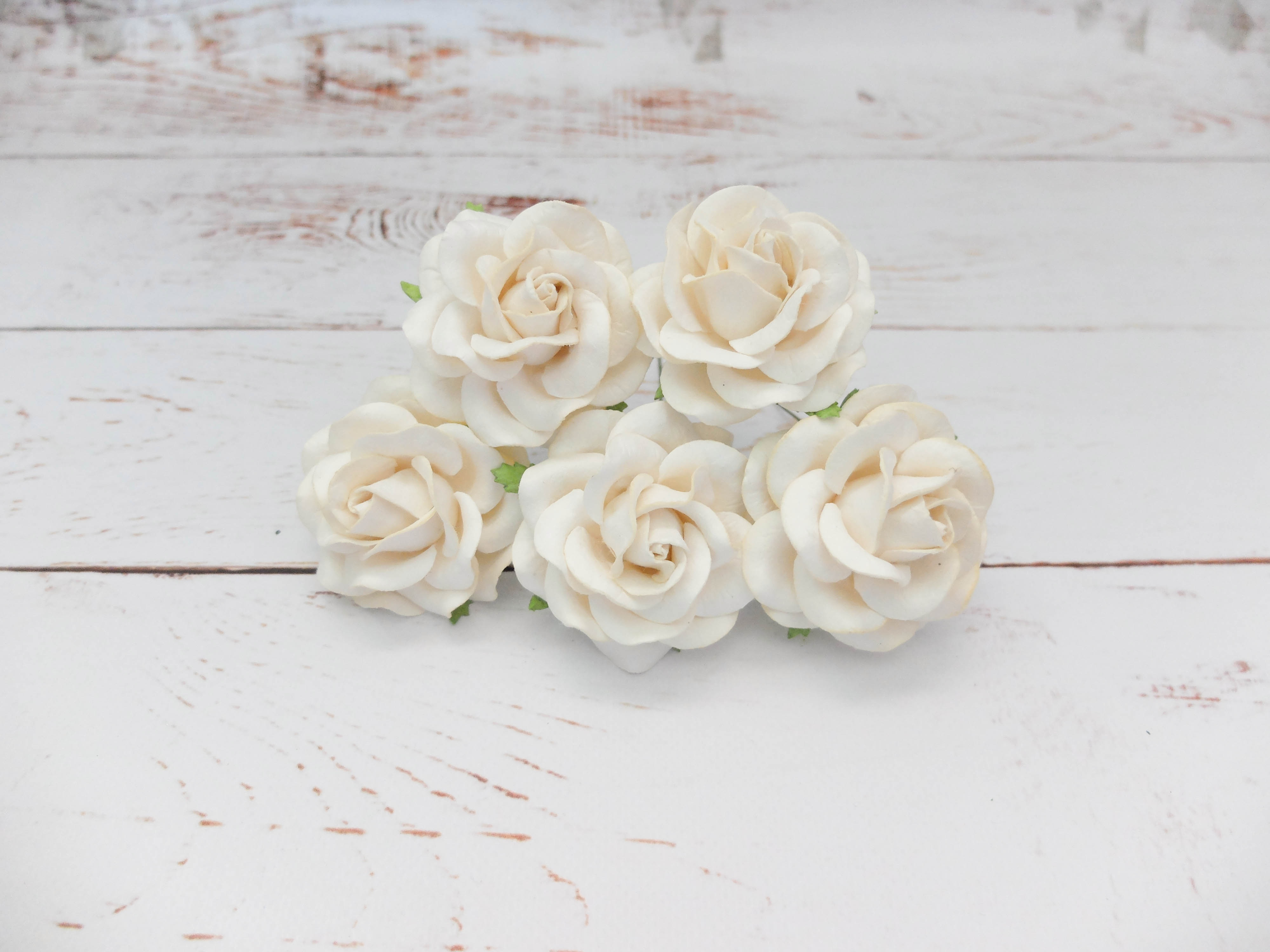 6 Cm Paper Roses 24 Roses 60mm Mulberry Paper With Wire Stems