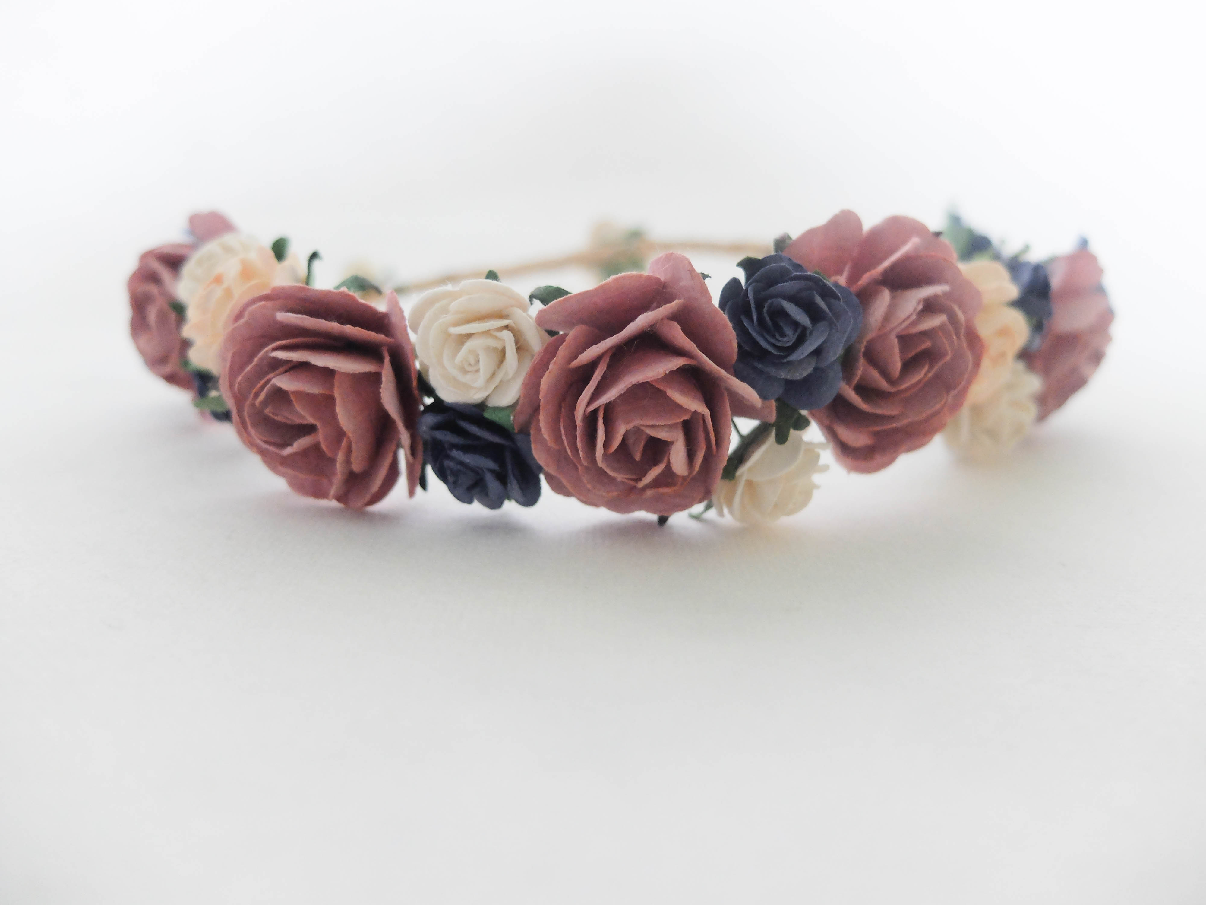 mauve and navy wedding flower crown