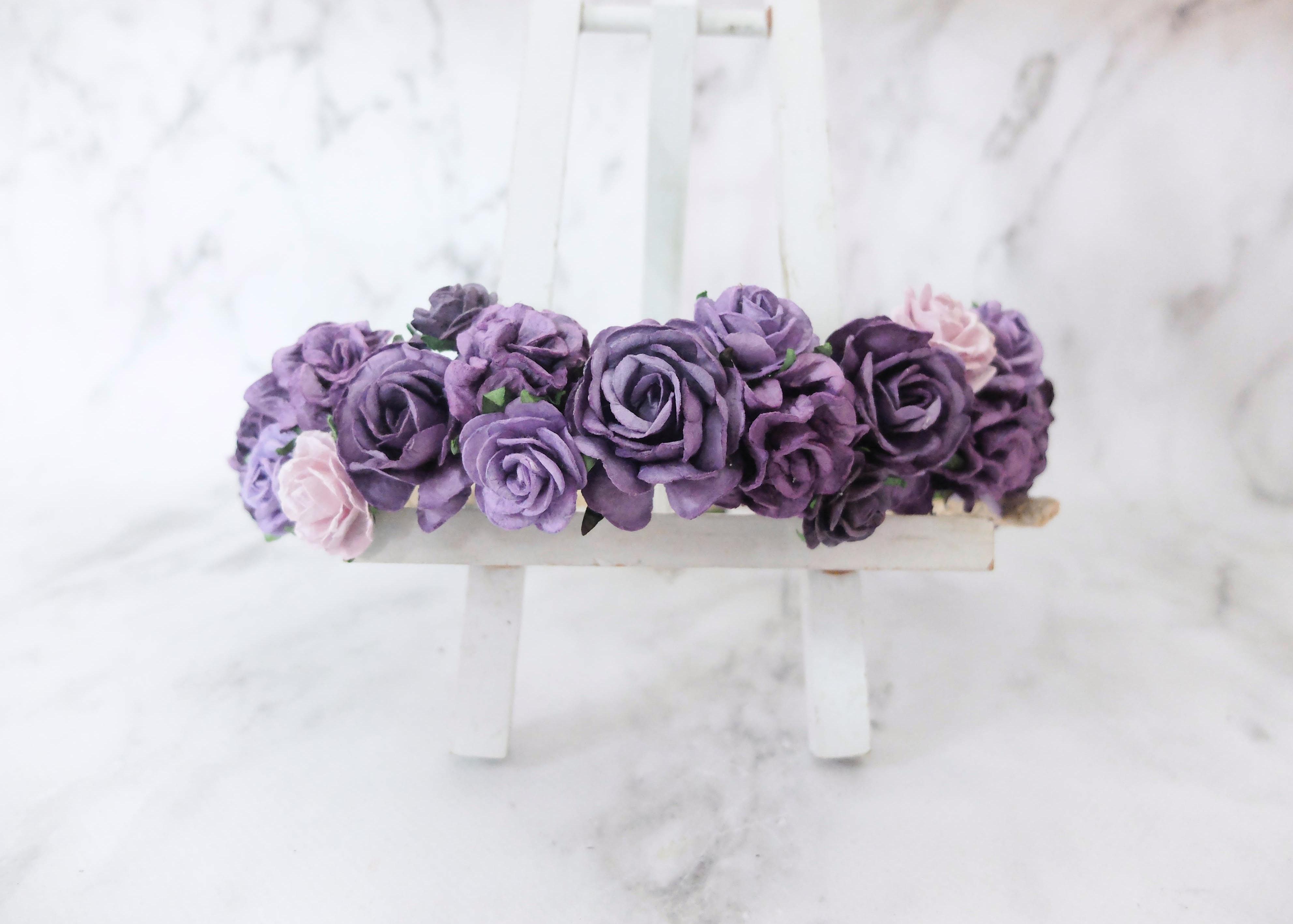 Purple flower crown headpiece floral hair wreath headband purple flower crown izmirmasajfo