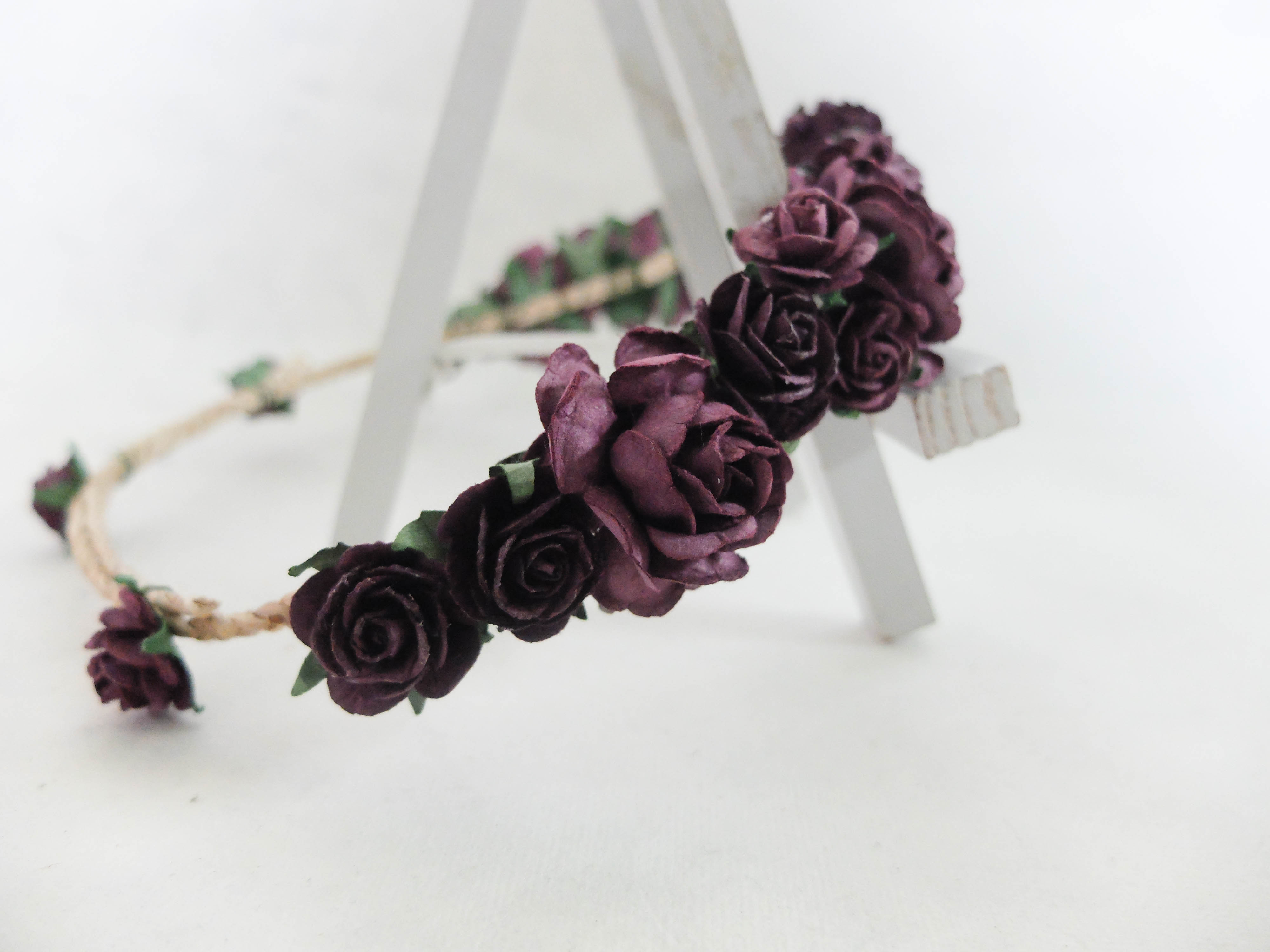 Plum Flower Crown Rose Headpiece Floral Hair Wreath Headband