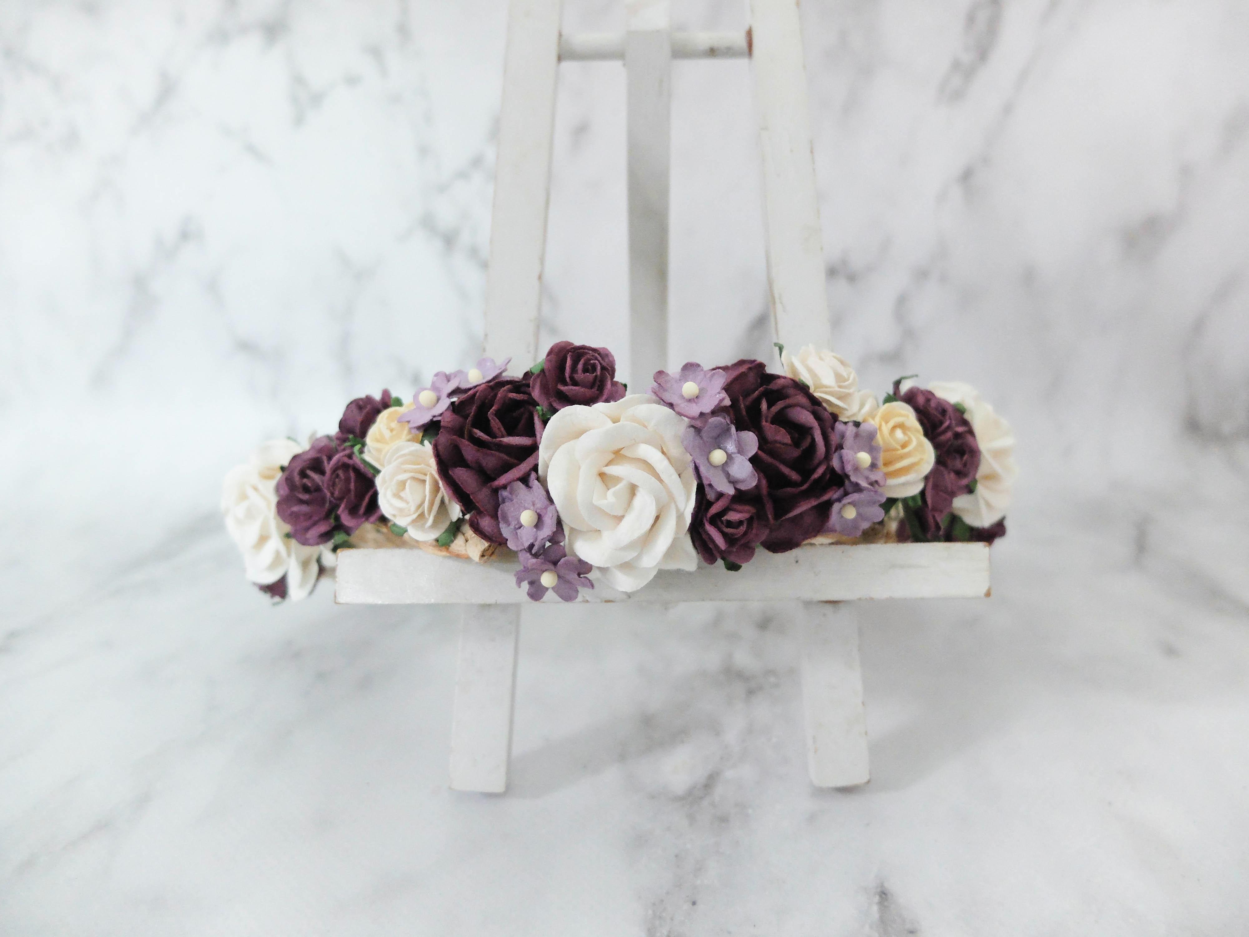 Plum cream wedding flower crown girl bridal adult hair accessories