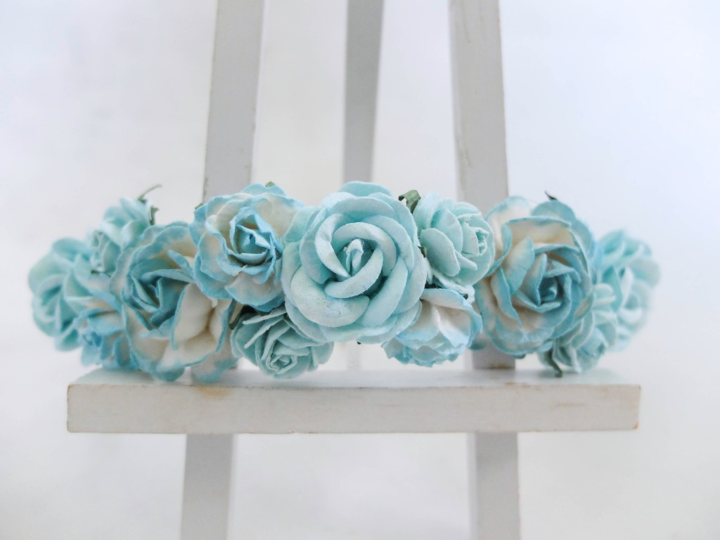 turquoise blue flower crown