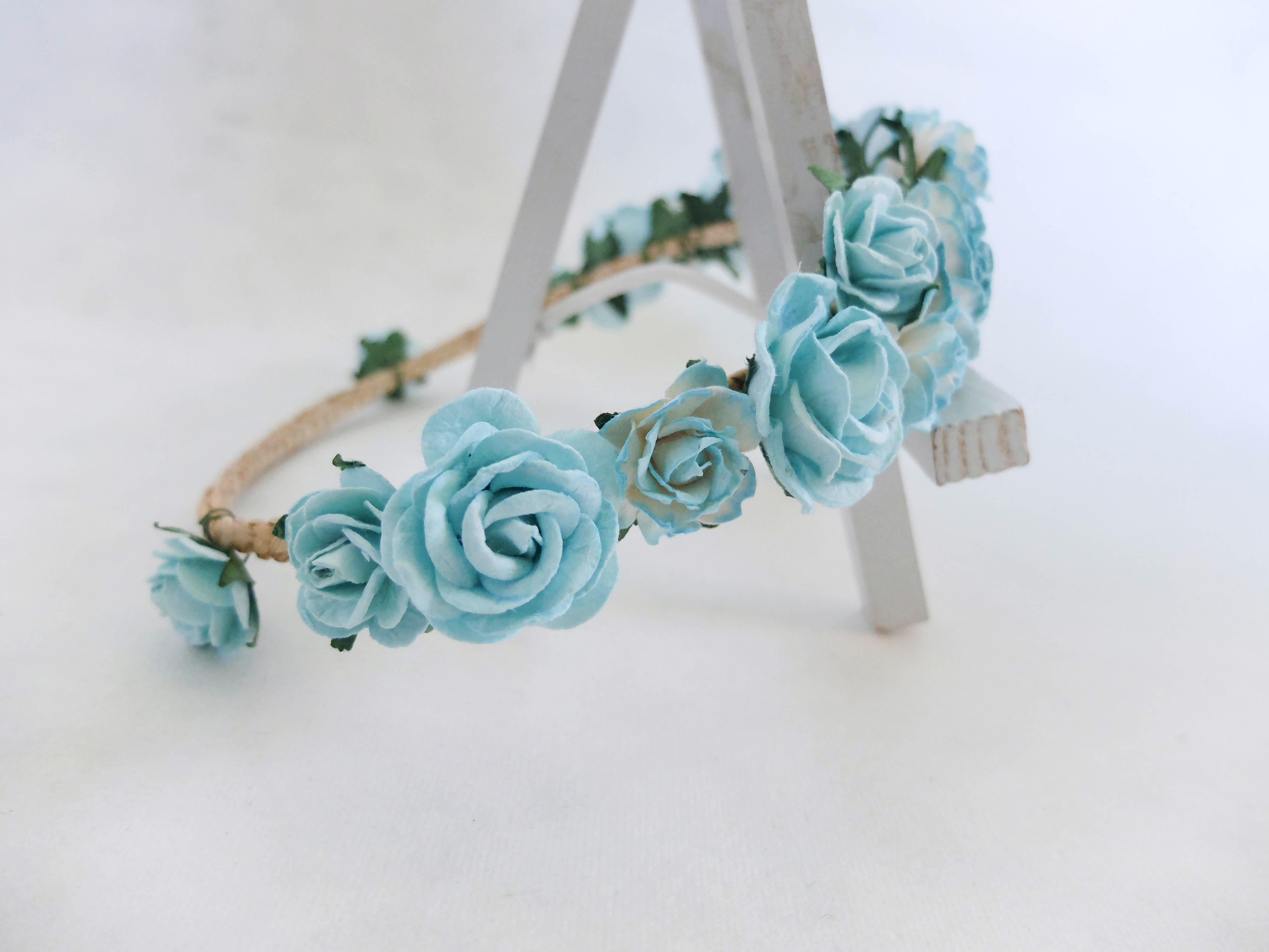 Turquoise blue flower crown bridal flower headpiece floral hair turquoise blue flower crown izmirmasajfo
