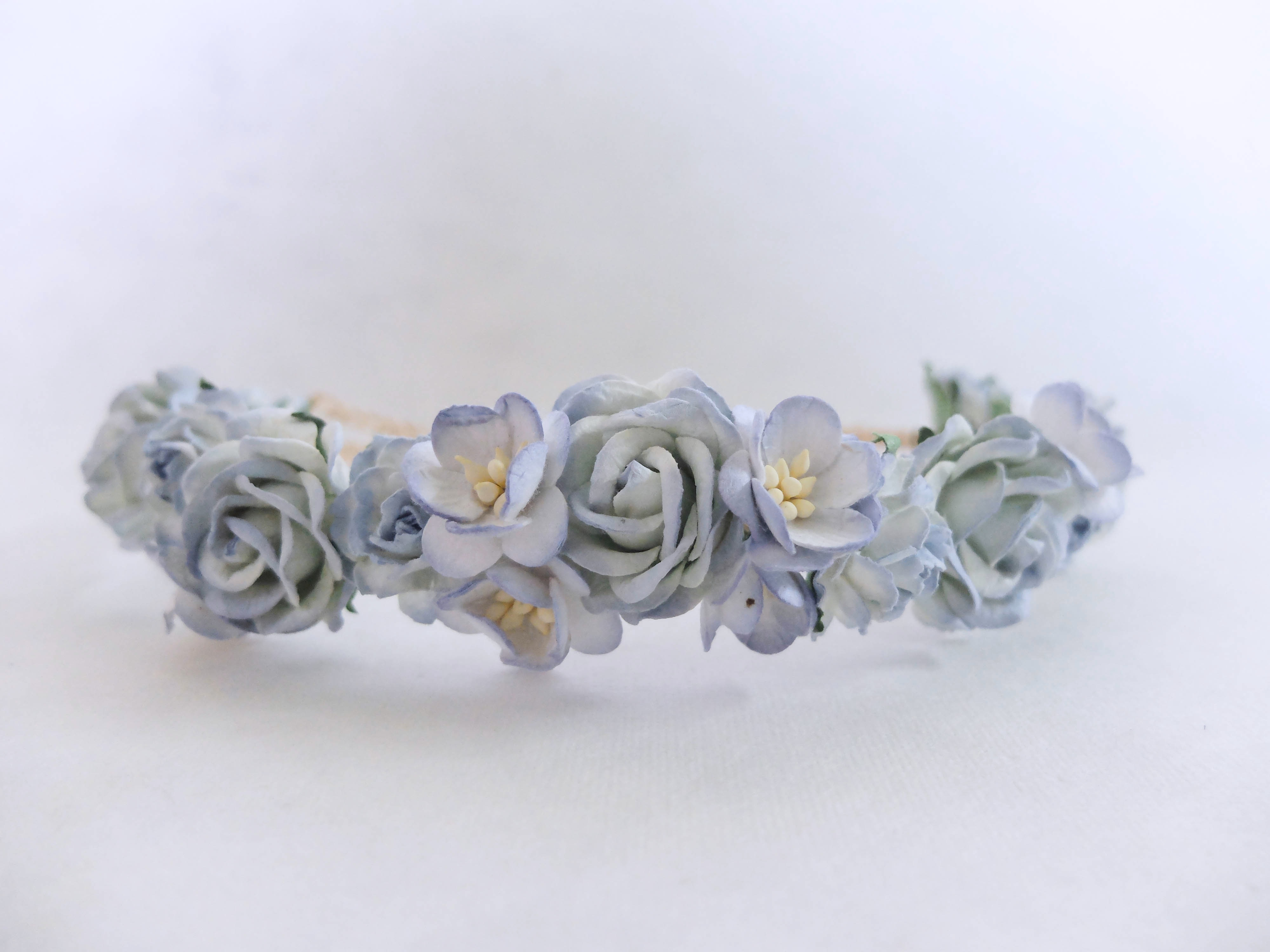 We are inspired to make flower crowns today dailypaperflowers shop light blue wedding flower crown izmirmasajfo