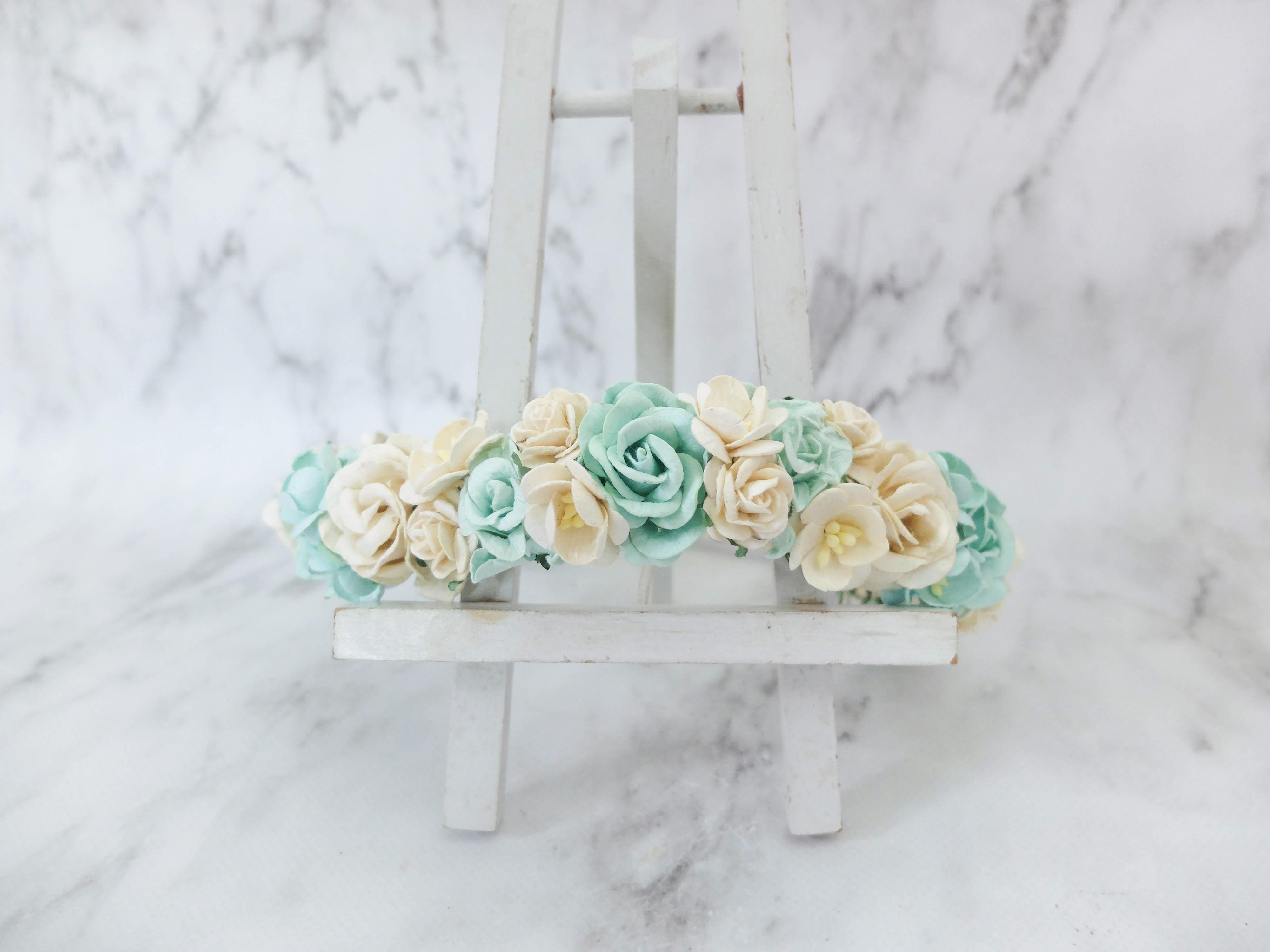 Mint flower crown wedding hair accessories floral head wreath mint flower crown wedding hair izmirmasajfo
