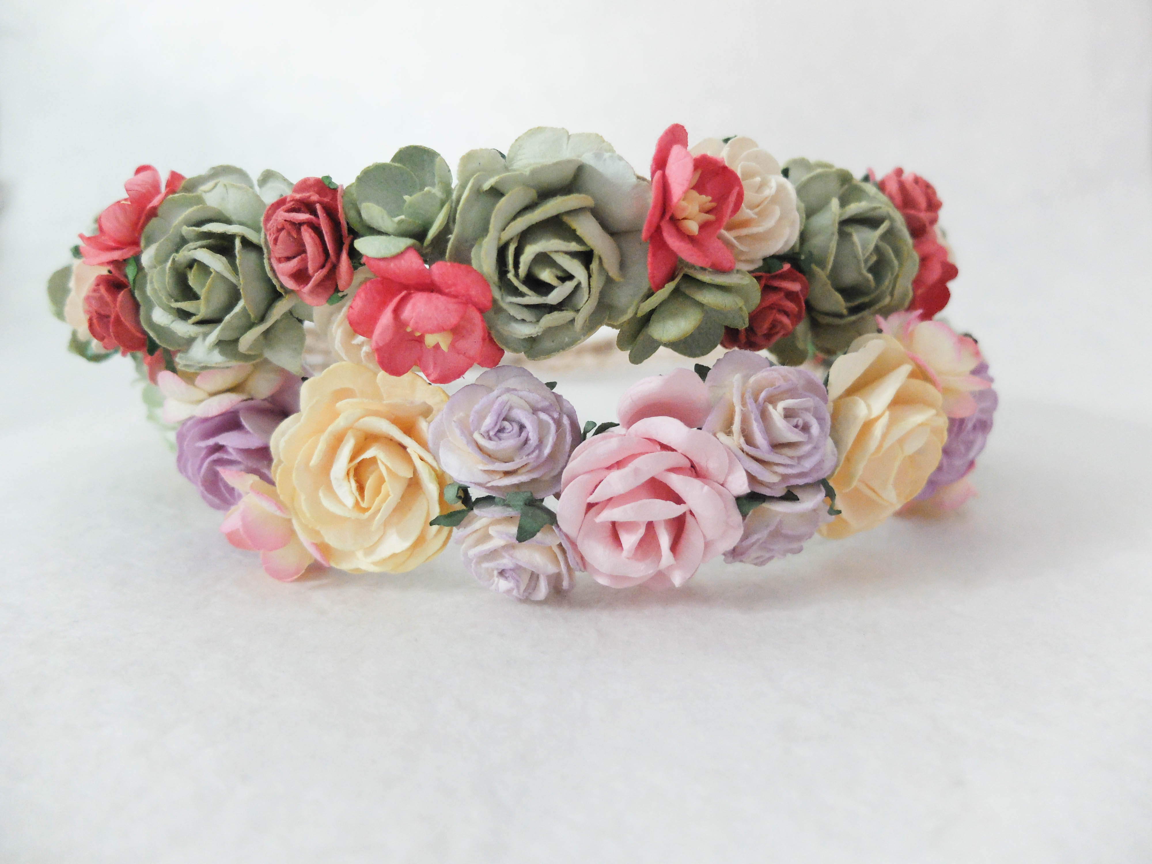 Pastel flower crown - spring - DAILYPAPERFLOWERS Shop mulberry paper ... 6f467f94f2e