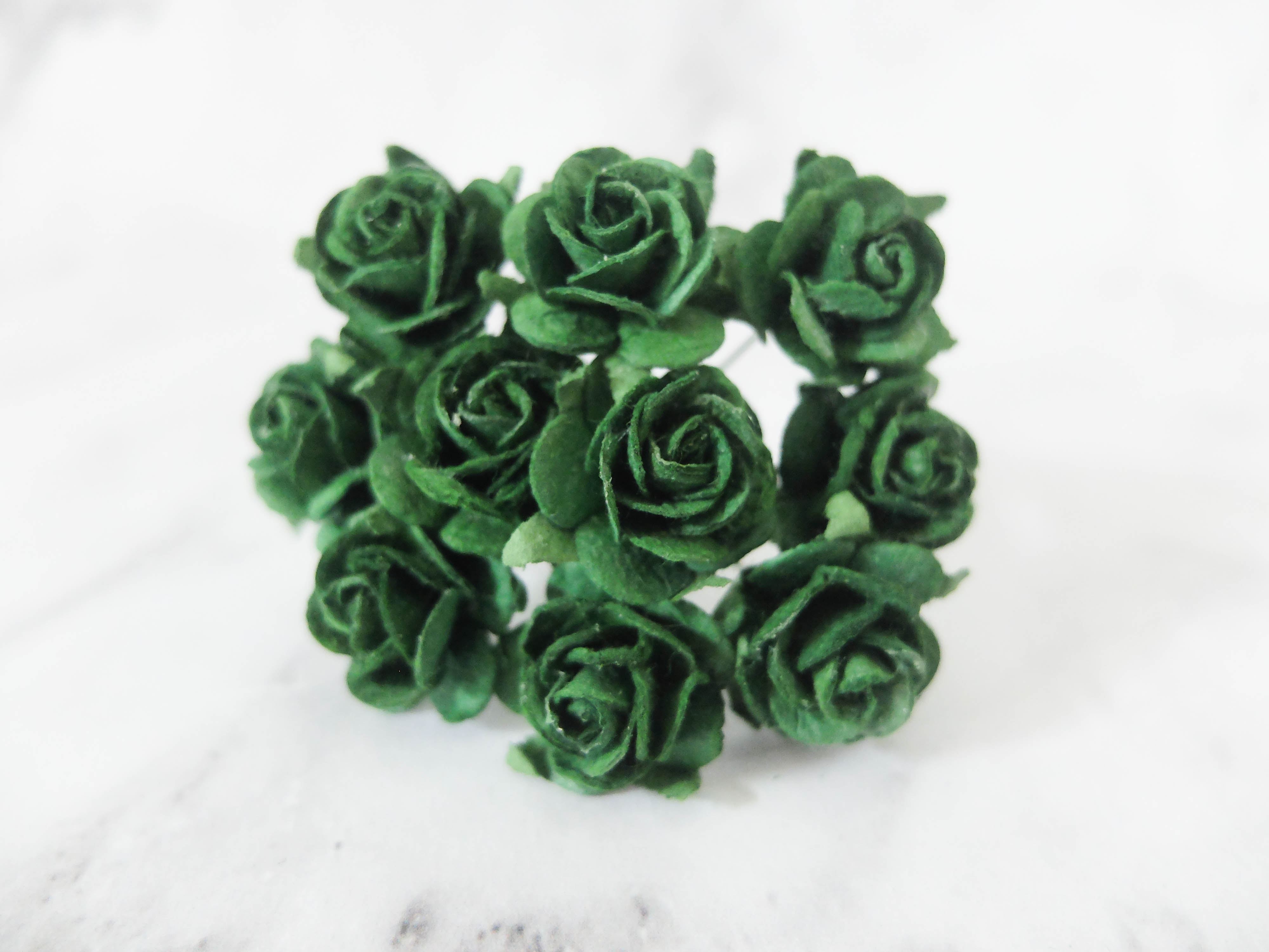 2 Cm Paper Roses 20mm Paper Flowers With Wire Stems