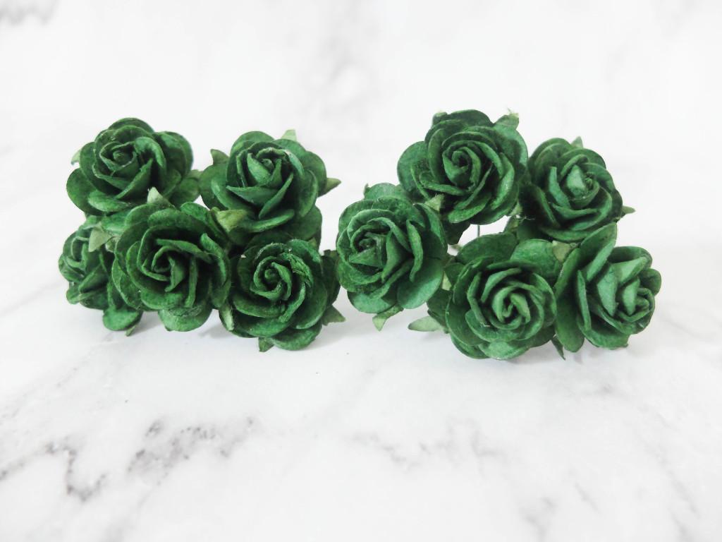 green paper roses