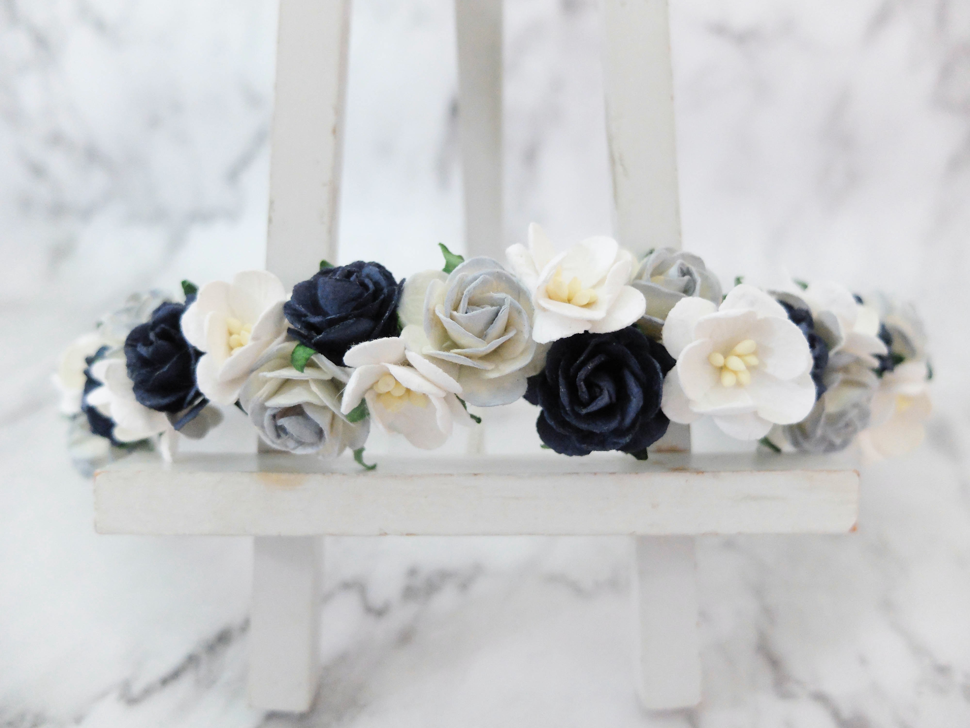 Navby Blue And White Flower Rose Crown Wedding Girl Bridal