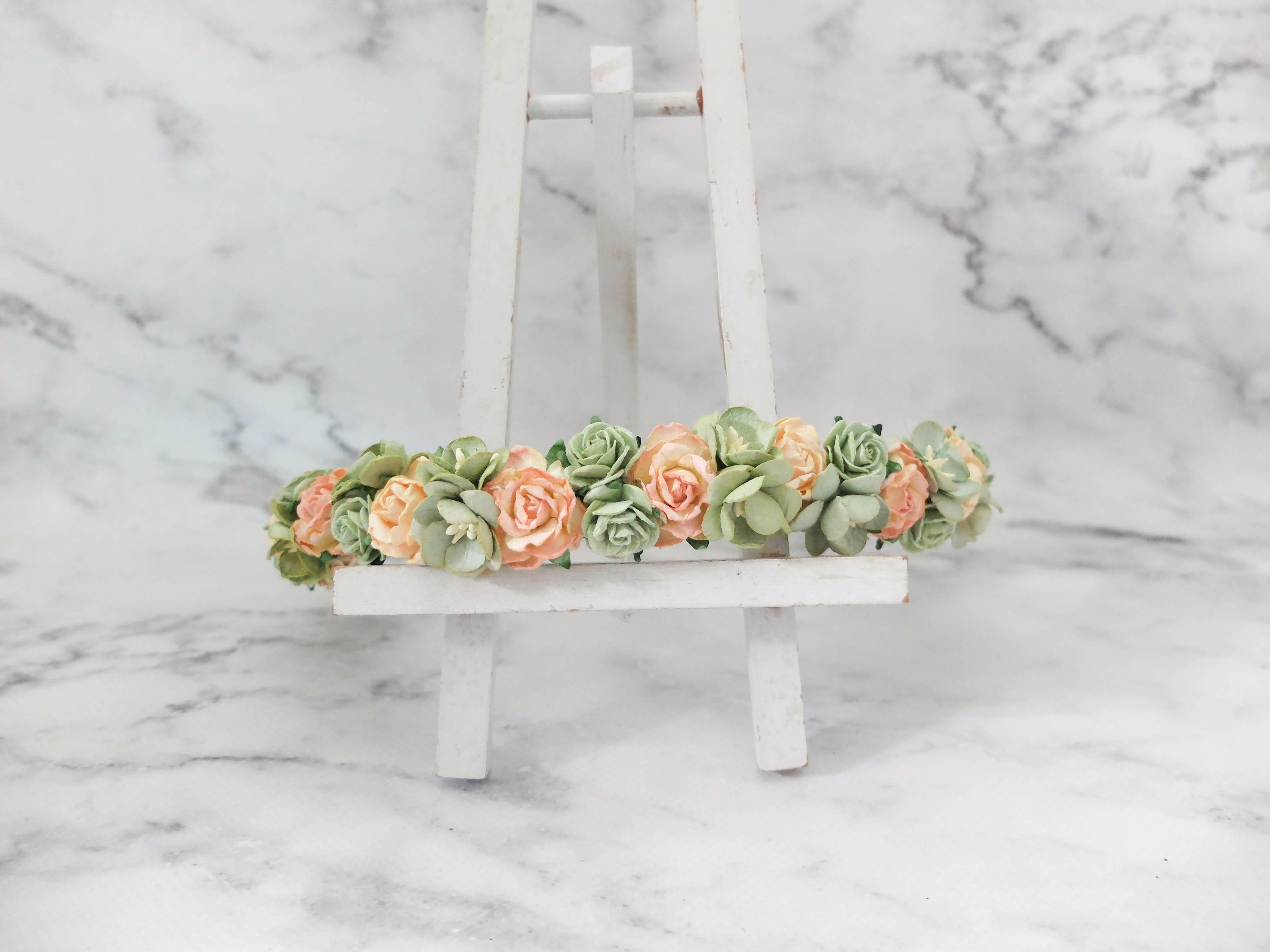 Peach green flower crown rose headpiece floral hair wreath peach green flower crown izmirmasajfo