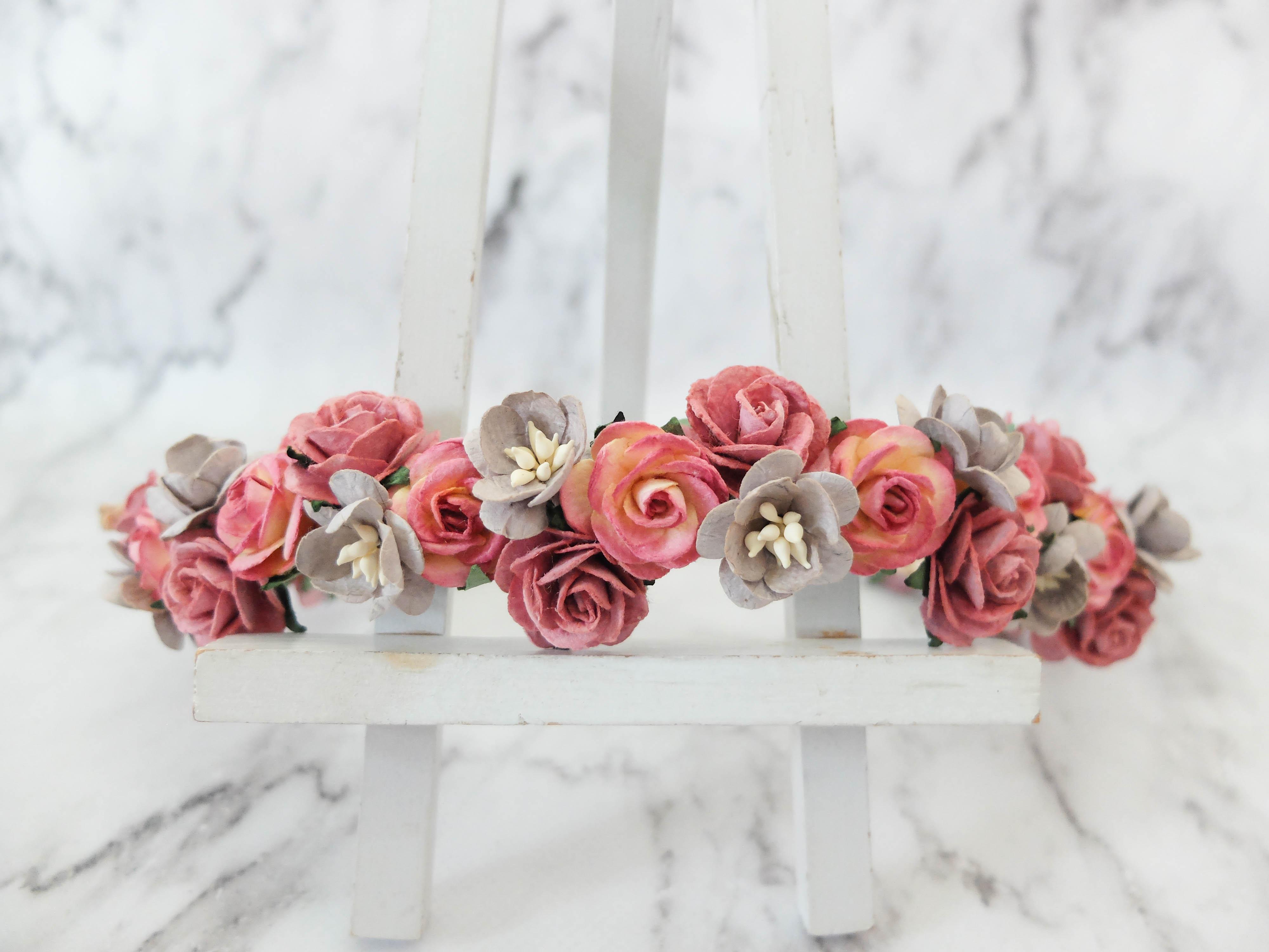 Dusty pink grey flower crown hair wreath headpiece wedding dusty pink and gray flower mightylinksfo