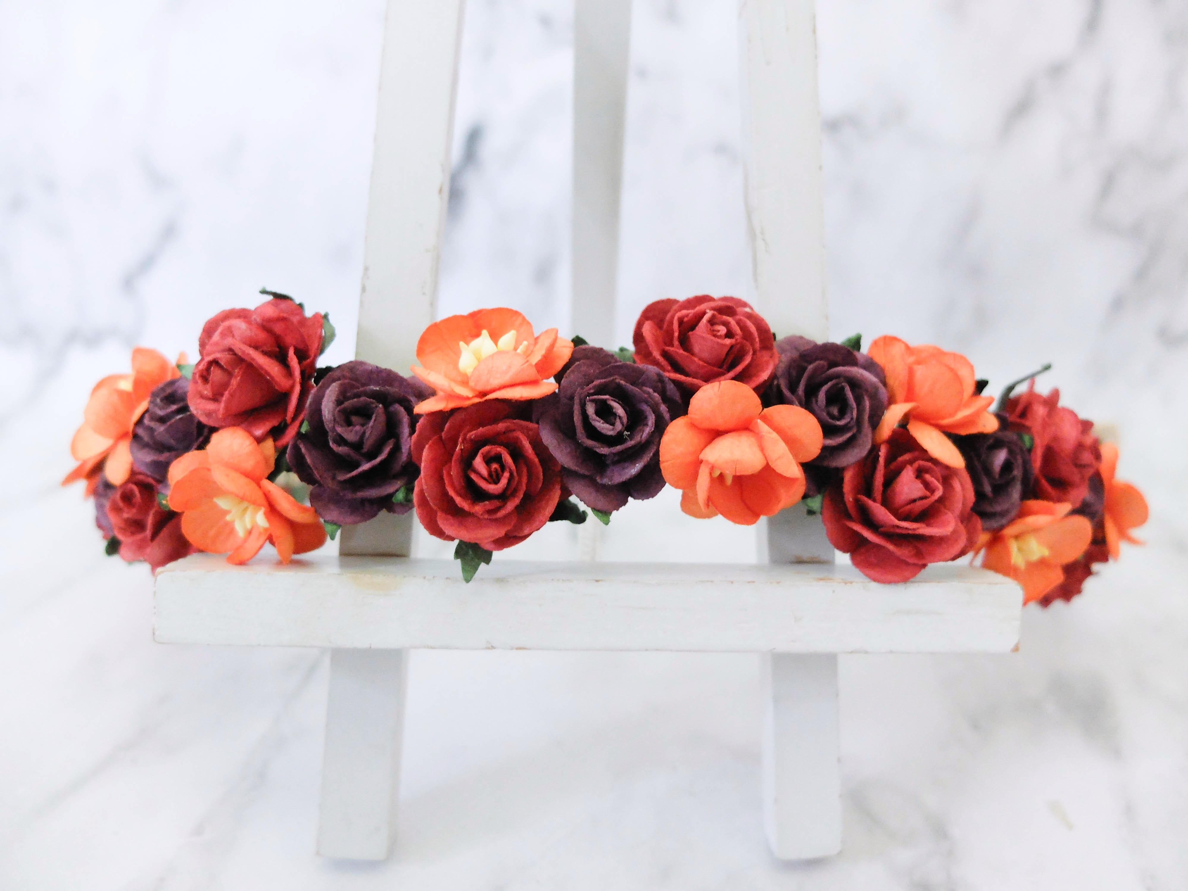 Fall Flower Wedding Hair Crown Orange Plum Red Headpiece