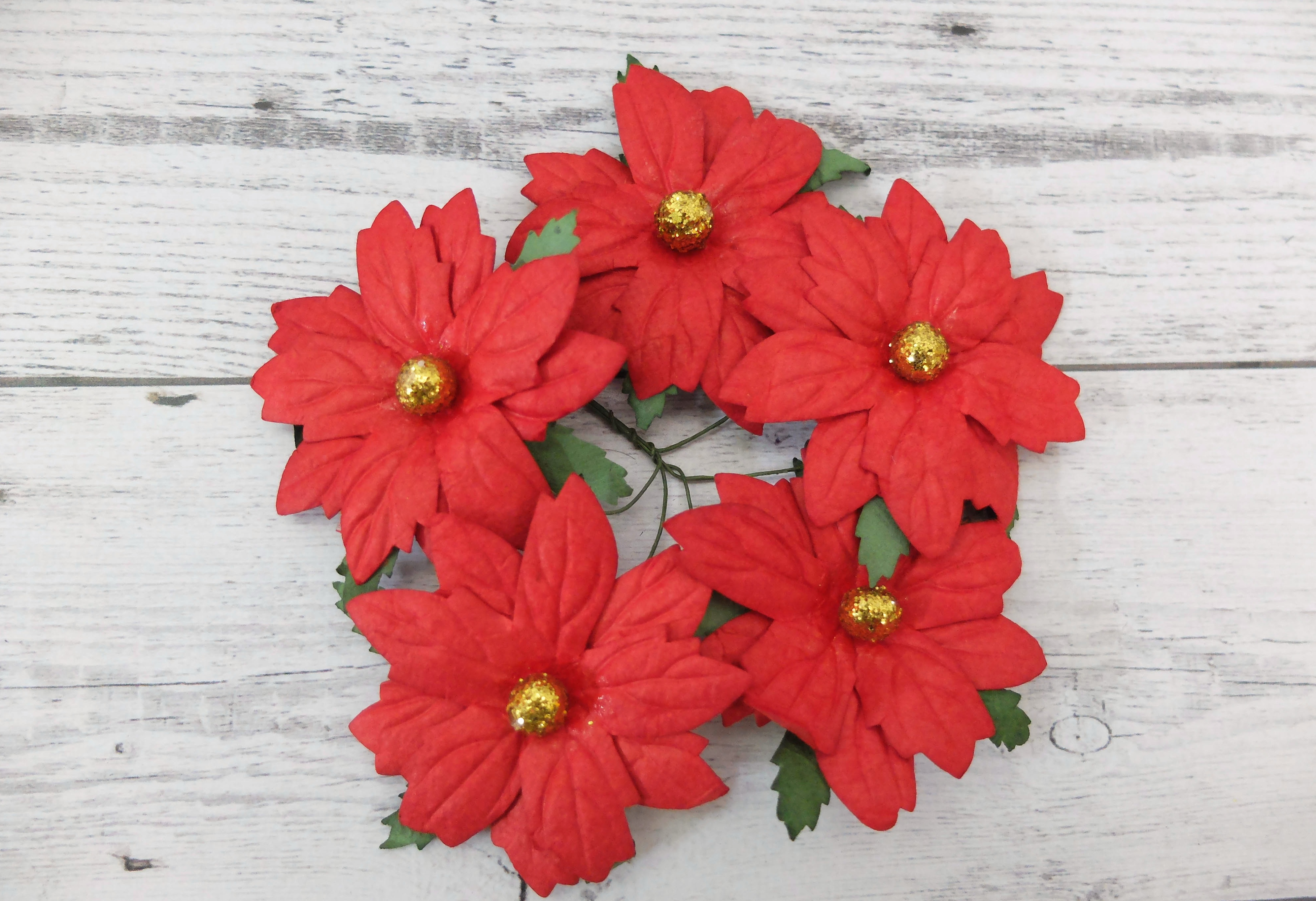 6 Cm Paper Poinsettias Christmas Decoration Holly Sprigs With