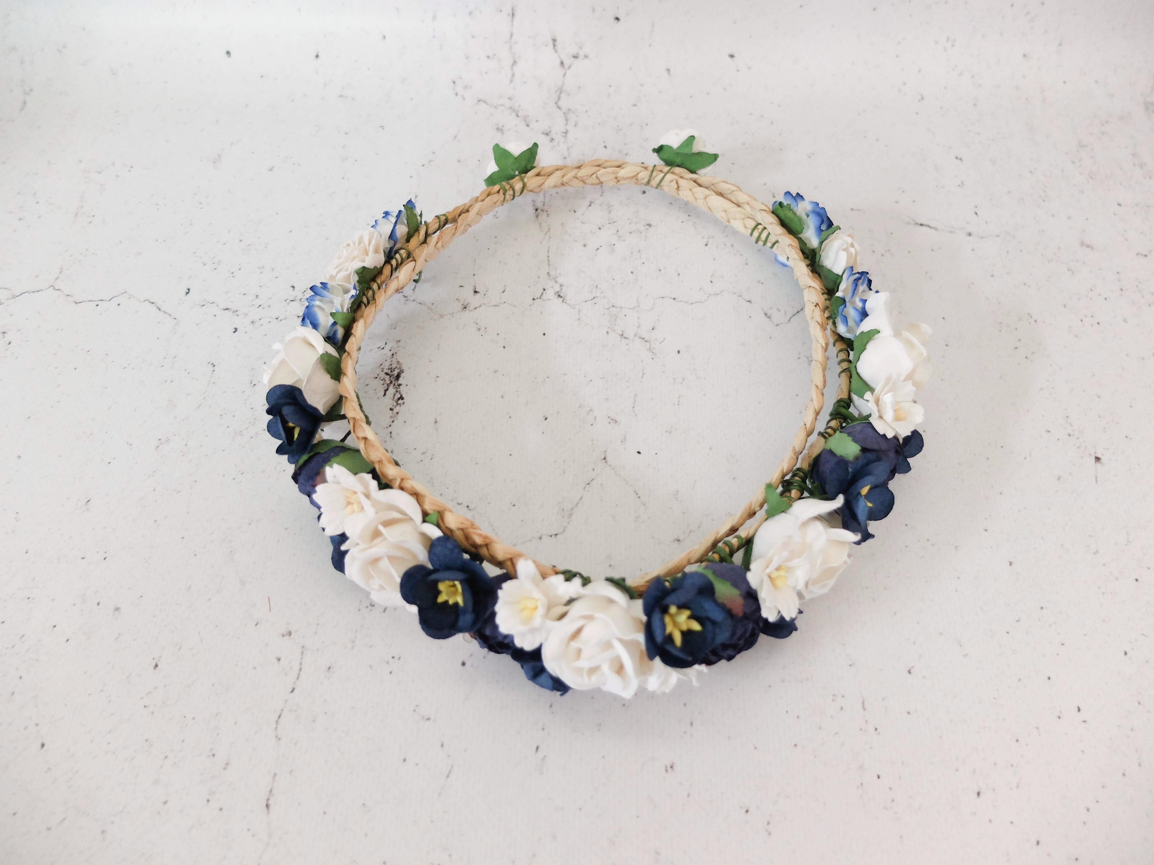 White navy blue flower crown bridal flower headpiece floral hair white and navy blue flower crown izmirmasajfo Gallery