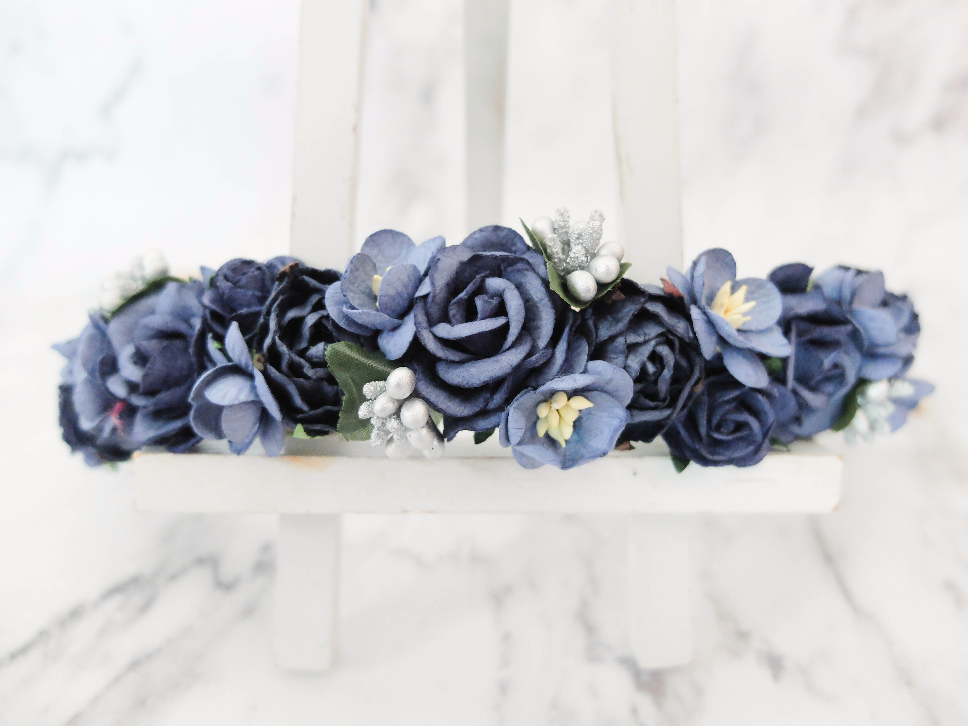 Navy blue silver flower crown bridal flower headpiece floral navy blue with silver buds flower crown izmirmasajfo