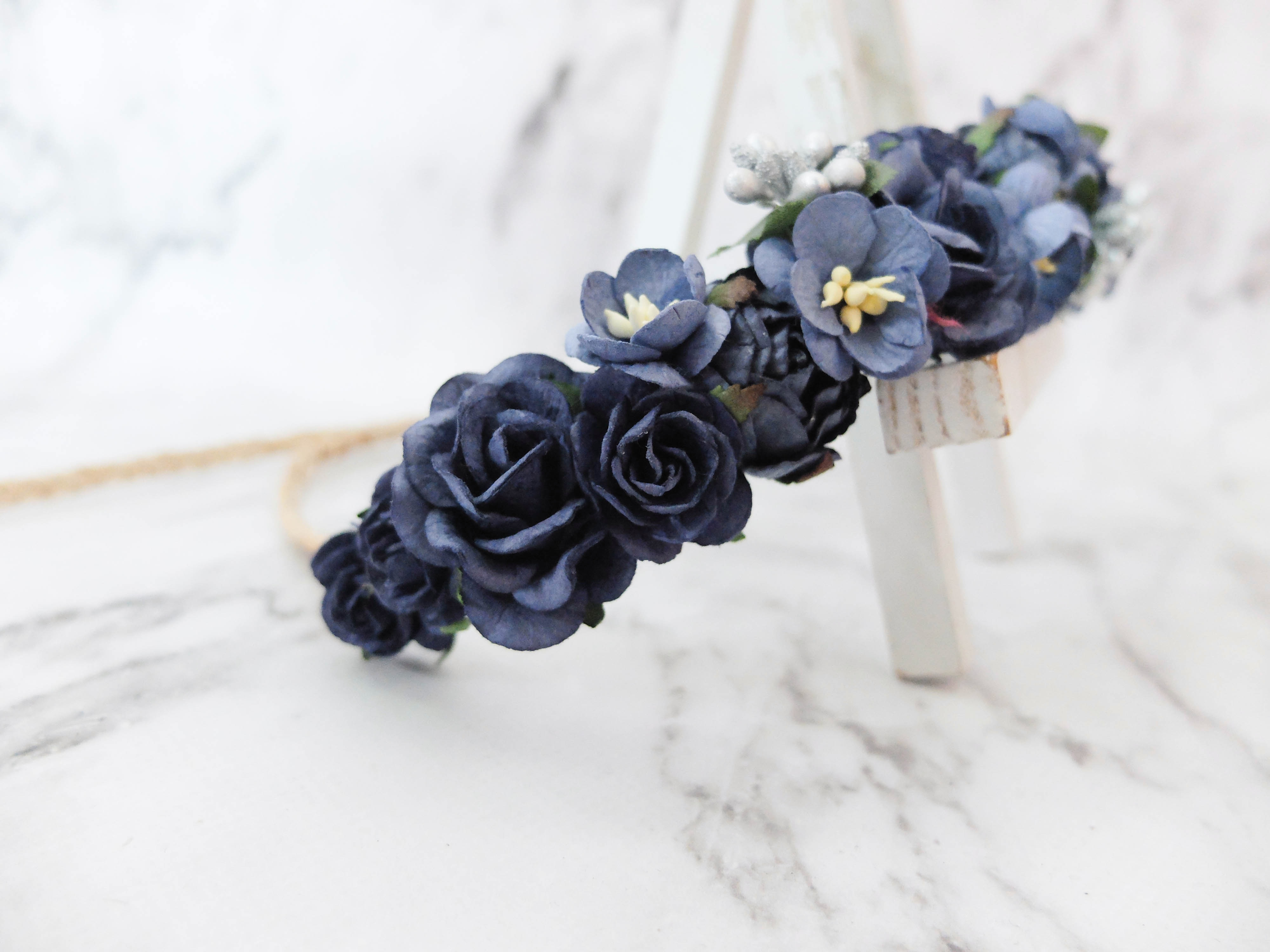 Navy blue silver flower crown bridal flower headpiece floral navy blue with silver buds flower izmirmasajfo