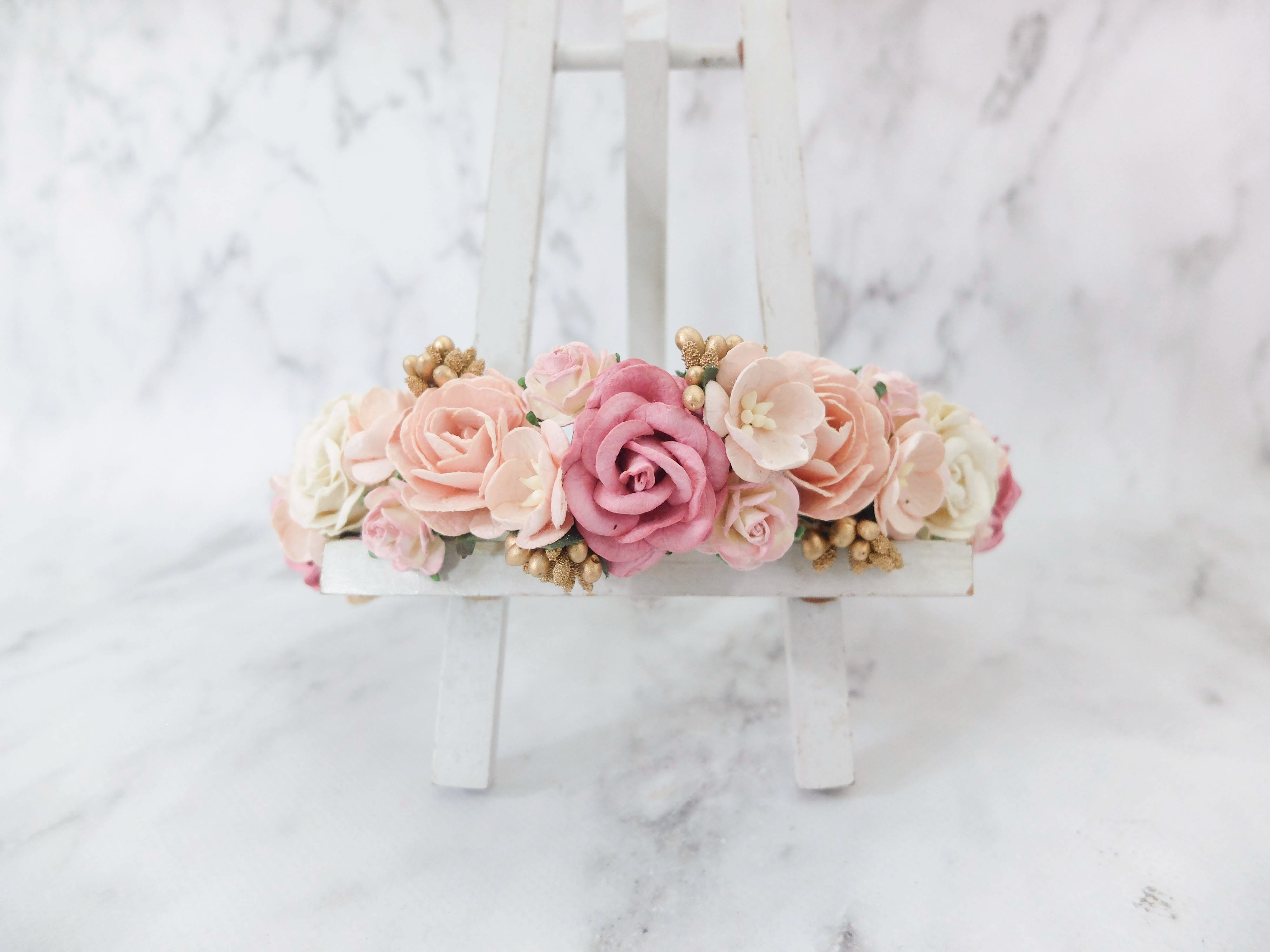 Dusty pink blush ivory gold flower crown - floral hair wreath ...