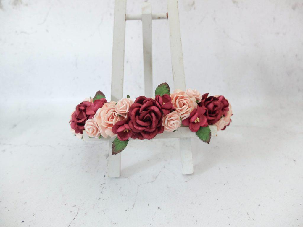blush pink burgundy flower crown