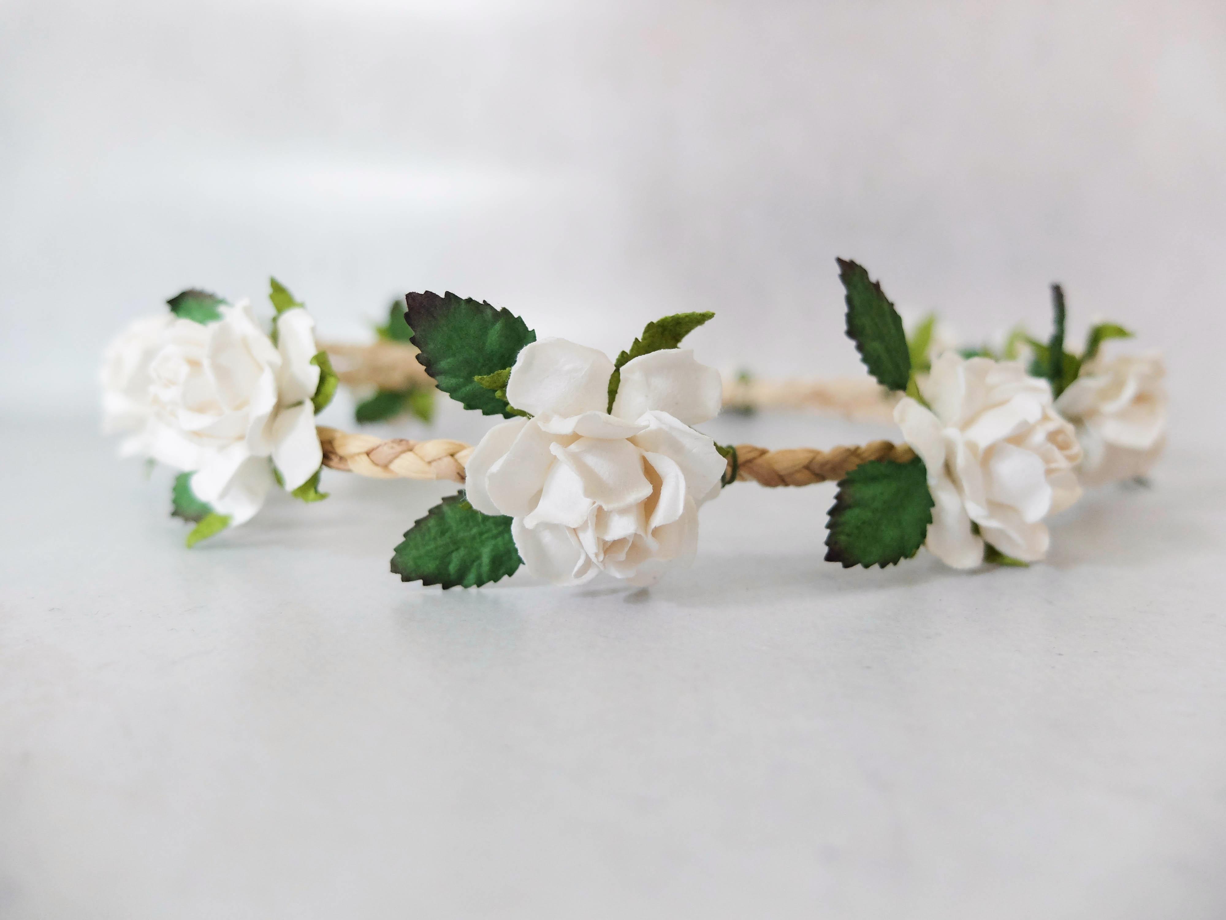 Minimal white flower crown bridal flower girl headpiece floral white minimal flower crown izmirmasajfo