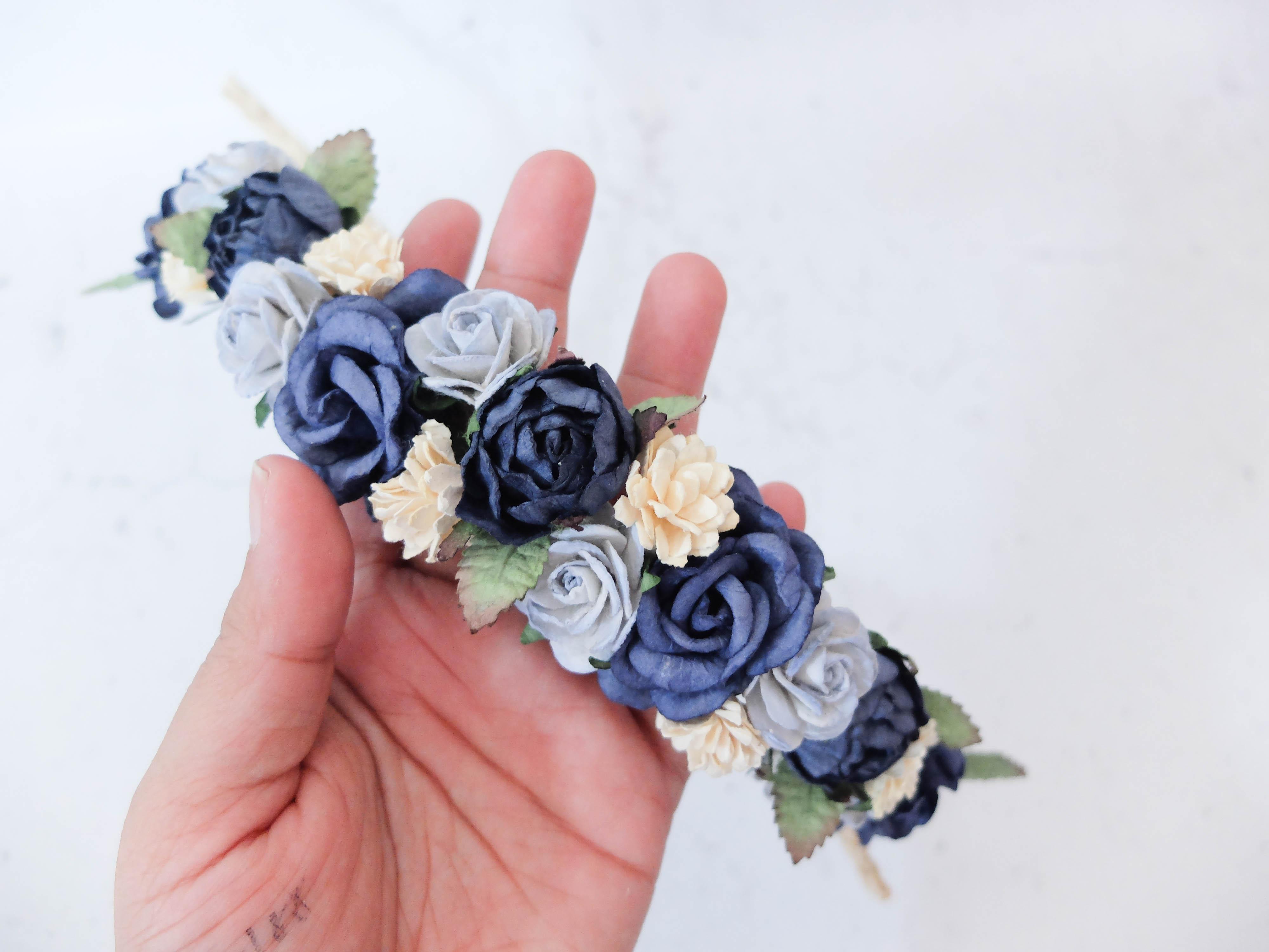 Navy blue ivory flower crown hair wreath headpiece flower girls navy blue ivory flower crown izmirmasajfo