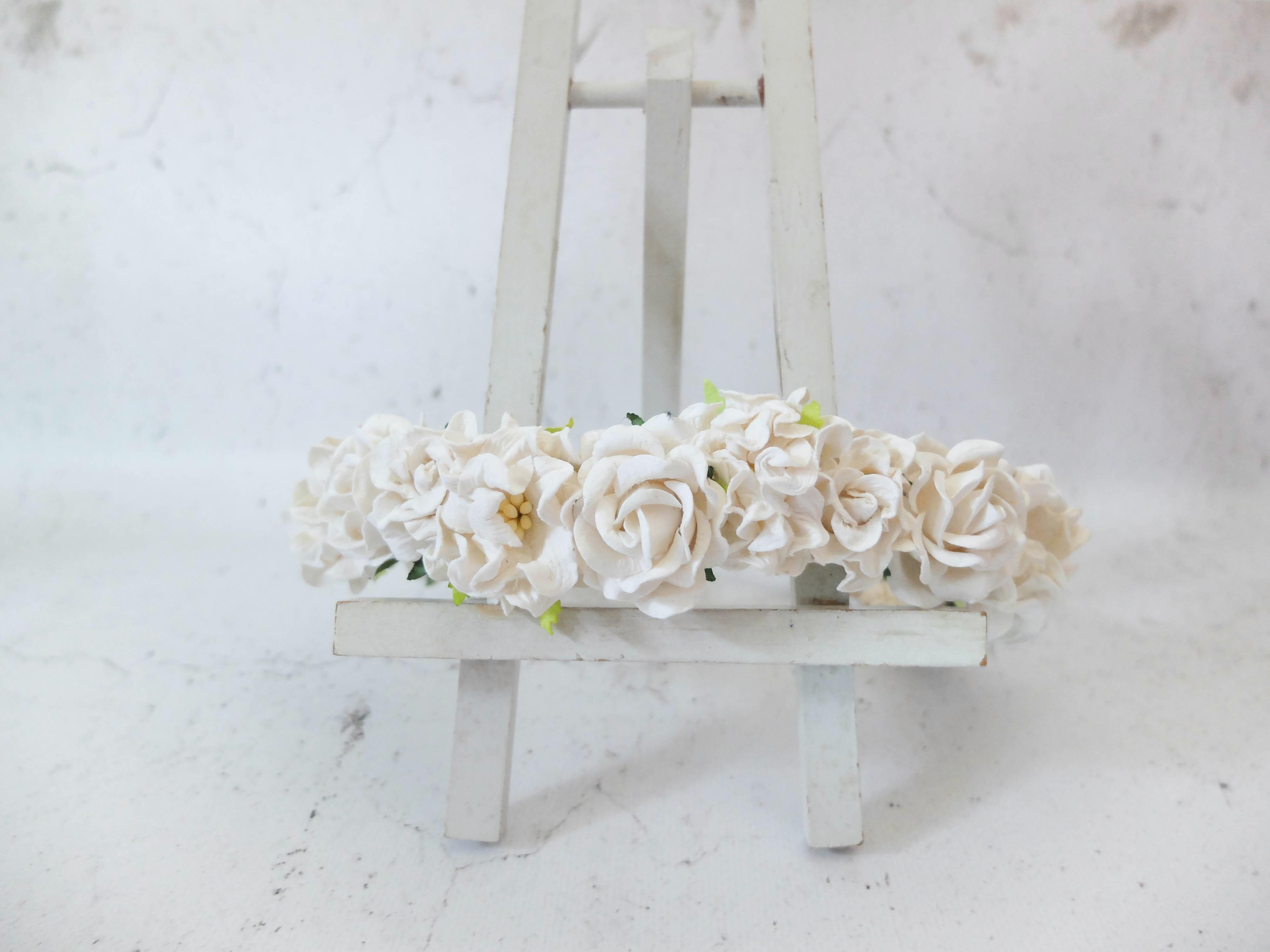 White Flower Crown Wedding Hair Accessories Floral Head Wreath