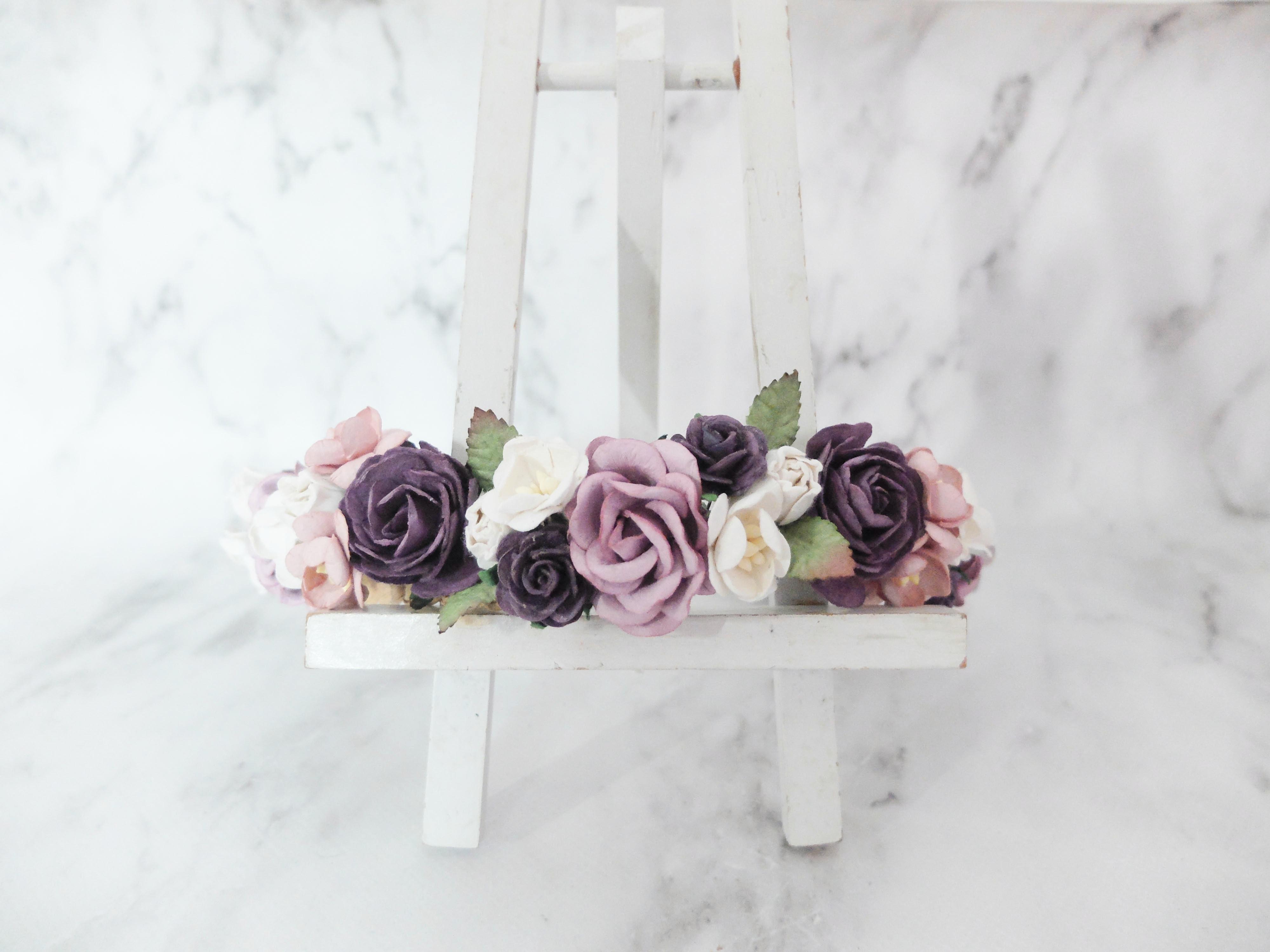 Mauve dark purple white flower crown wedding headpiece mauve dark purple white flower crown bridal mightylinksfo
