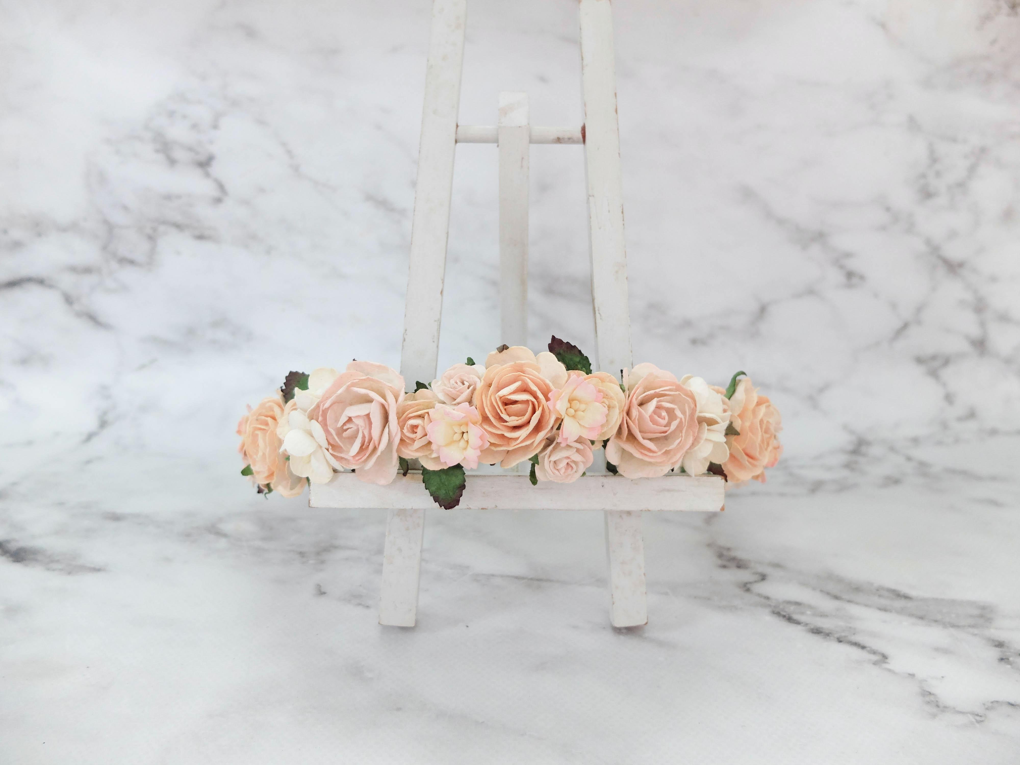 Light peach blush flower crown bridal headpiece wedding flower girls light peach blush flower crown izmirmasajfo