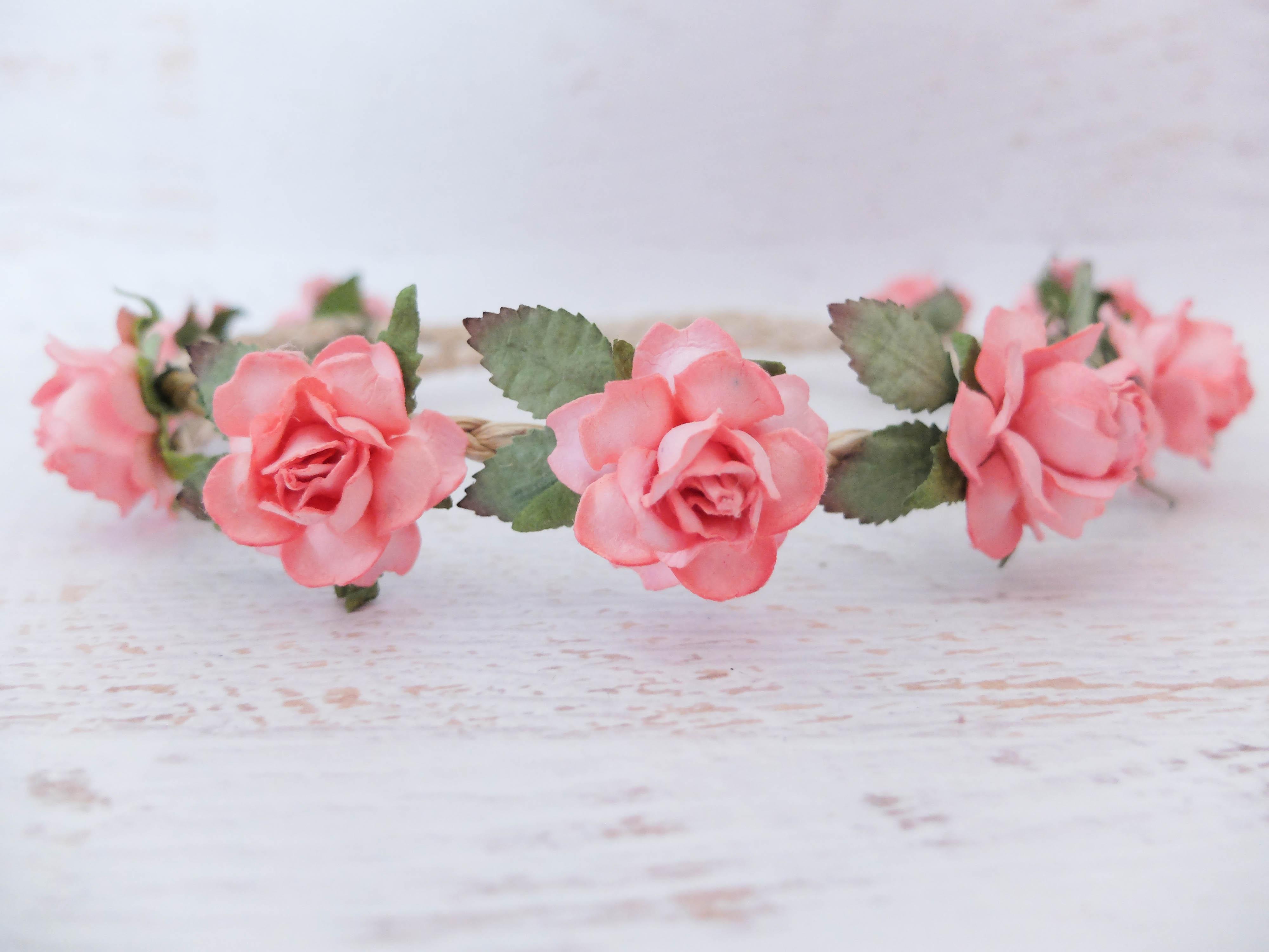 Coral Pink Flower Crown Wedding Bridal Flower Girl Hair Wreath