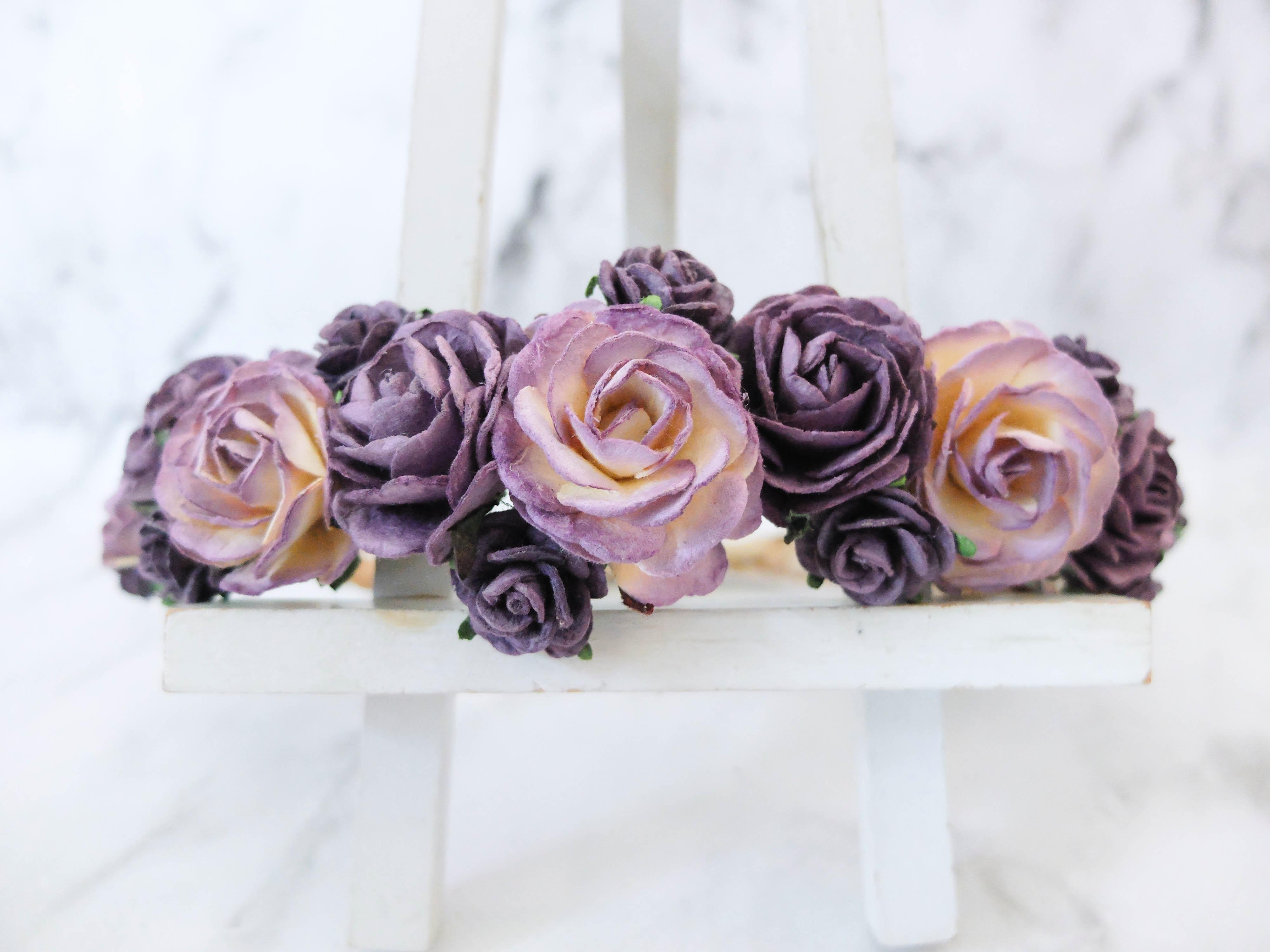 Dark Purple Wedding Flower Crowns Hair Wreath Flower Girls Bride