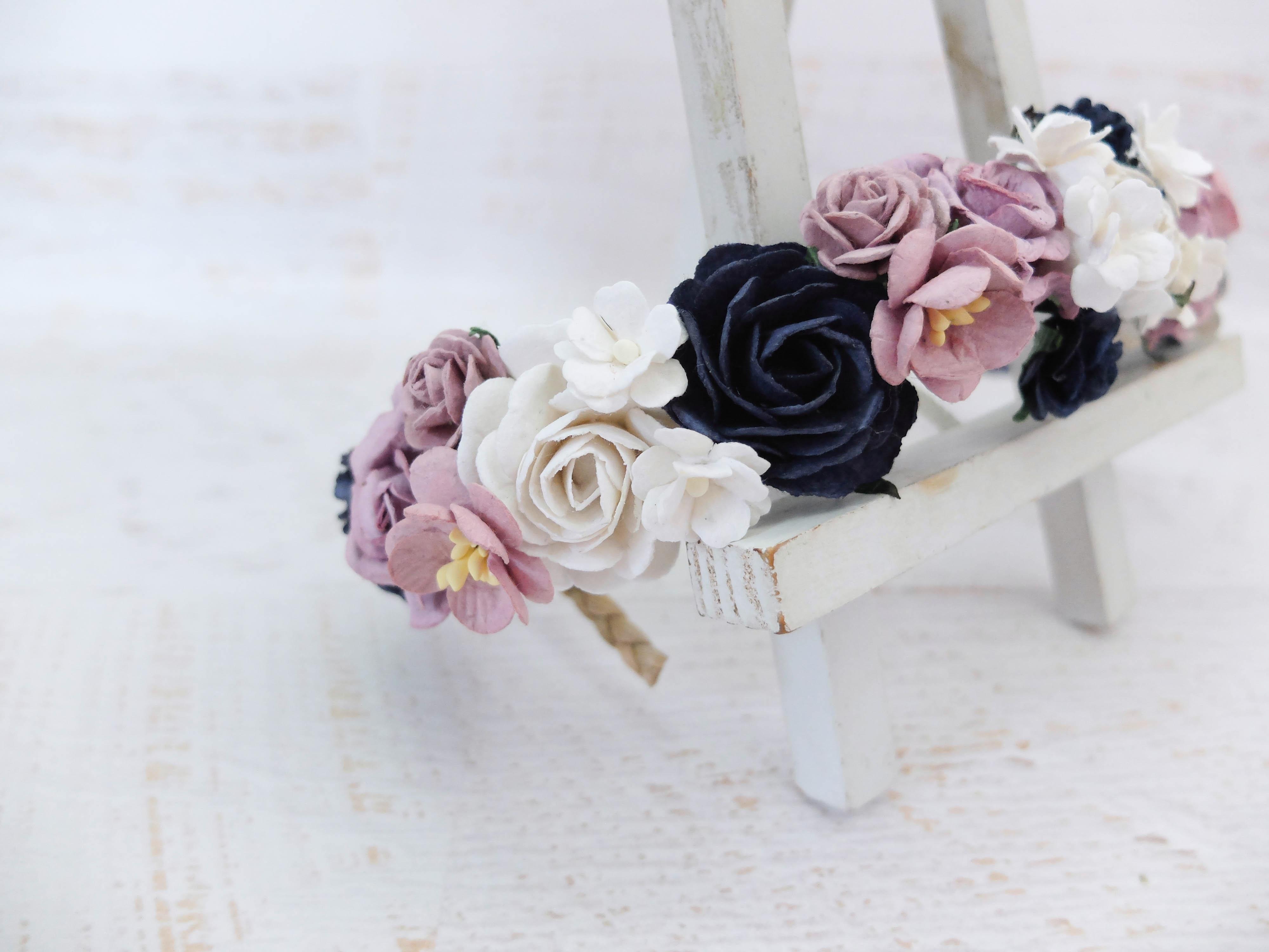 Navy blue mauve white wedding flower crown bridal floral headpiece izmirmasajfo