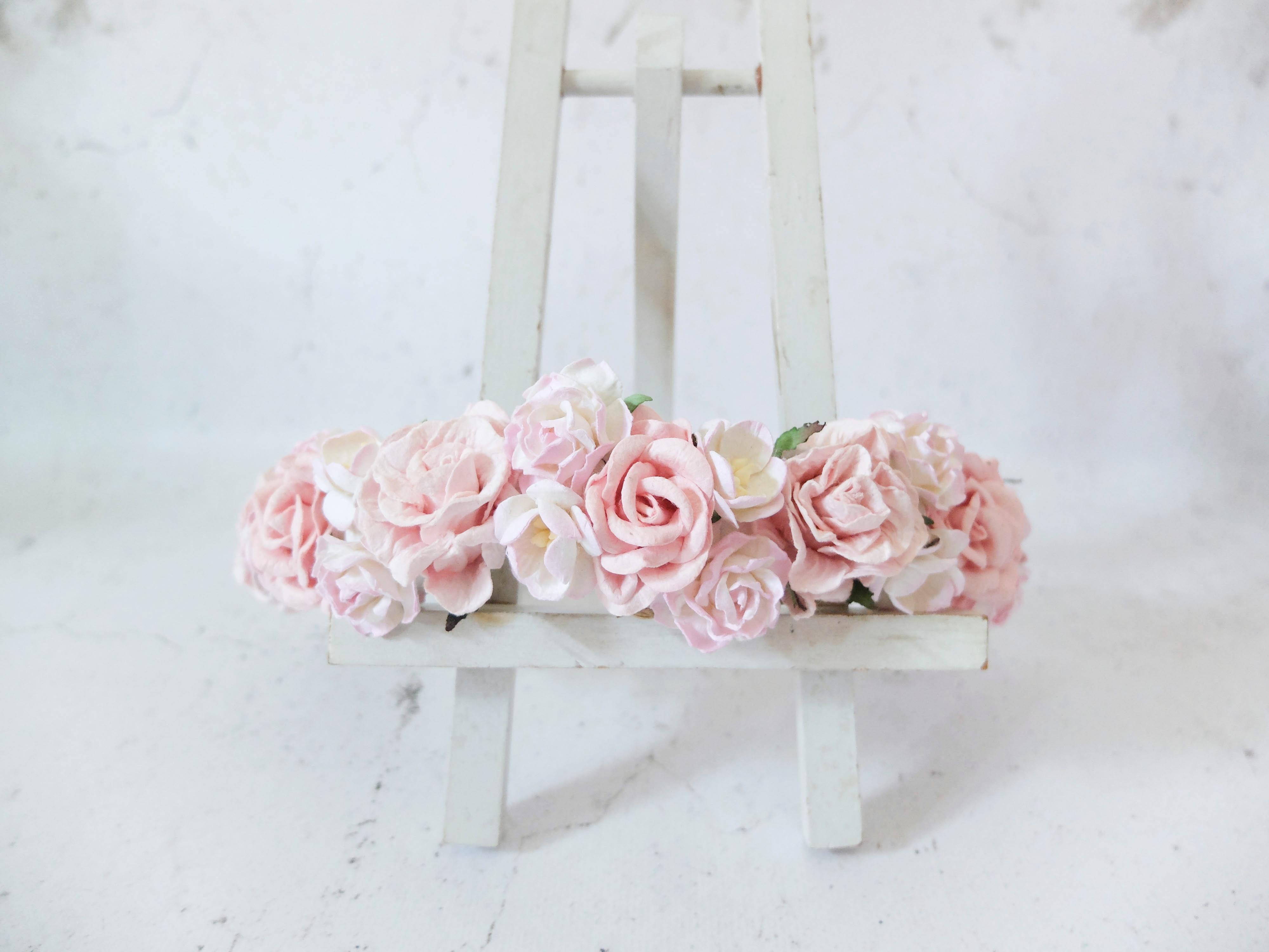 Light Pink Flower Crown Wedding Girl Hair Wreath Accessories