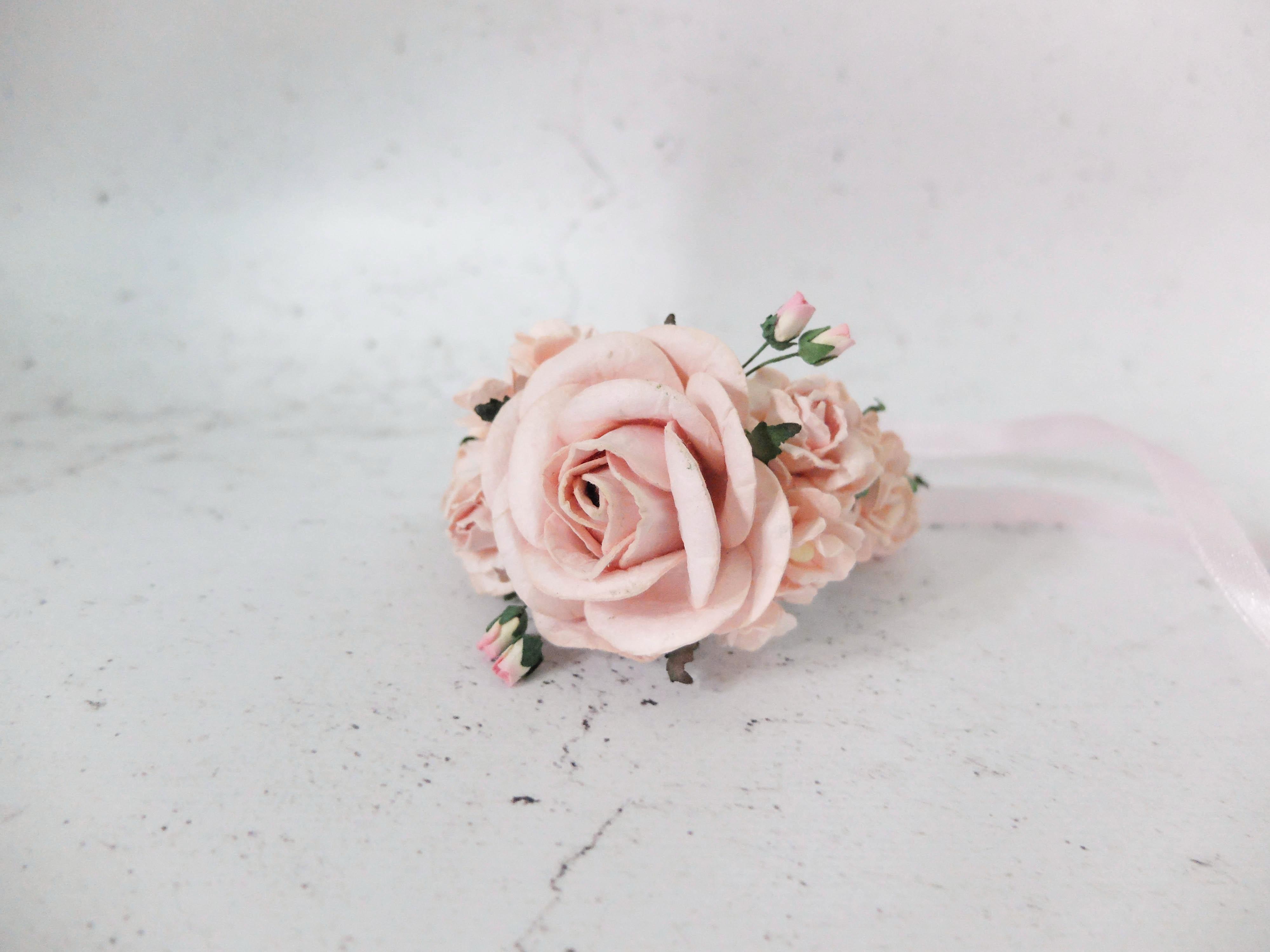 Wedding Flower Wrist Corsage Blush Pink Bridal Floral Bracelet Prom