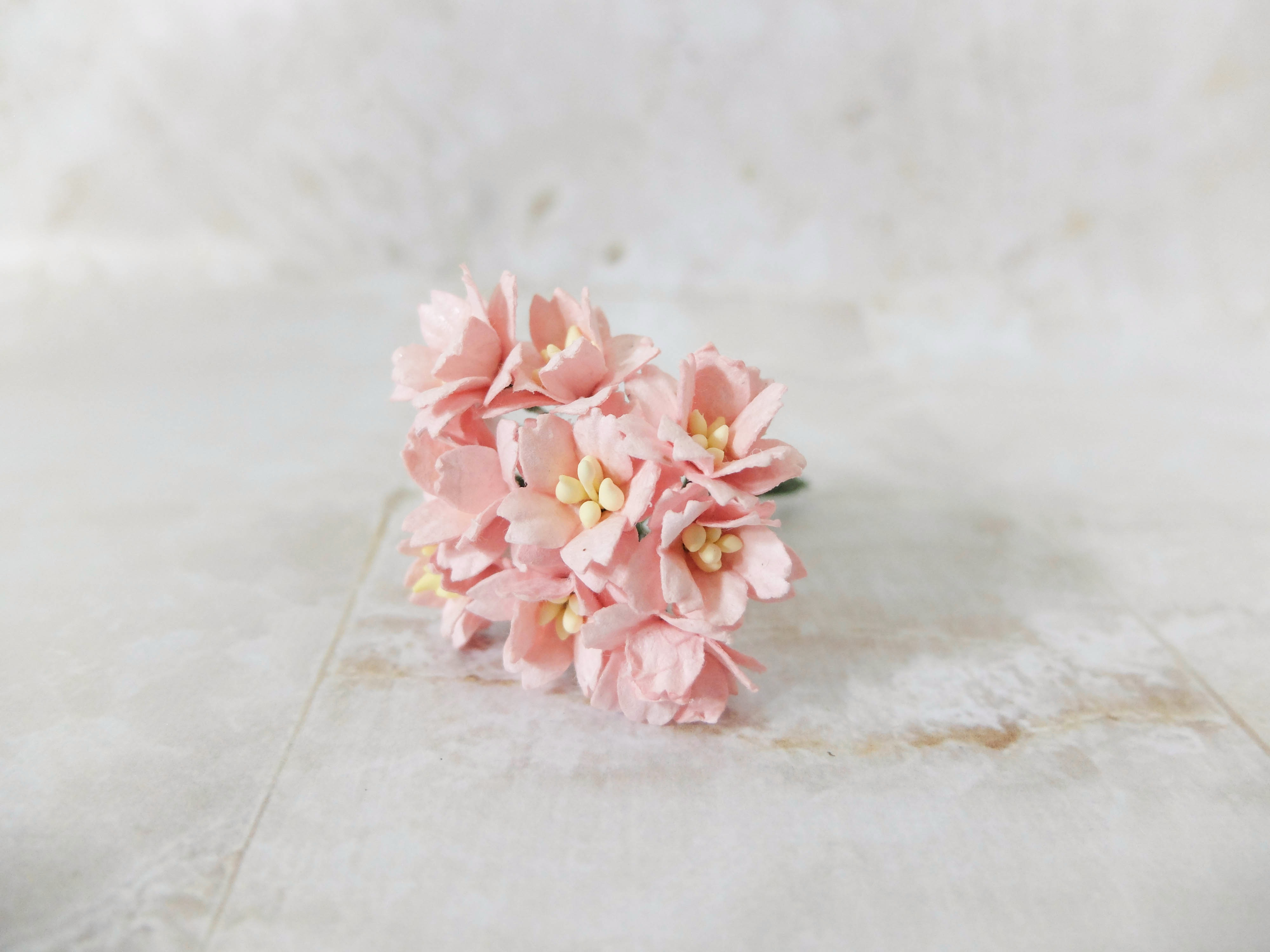 2 Cm Paper Cherry Blossom Mulberry Flowers With Wire Stems