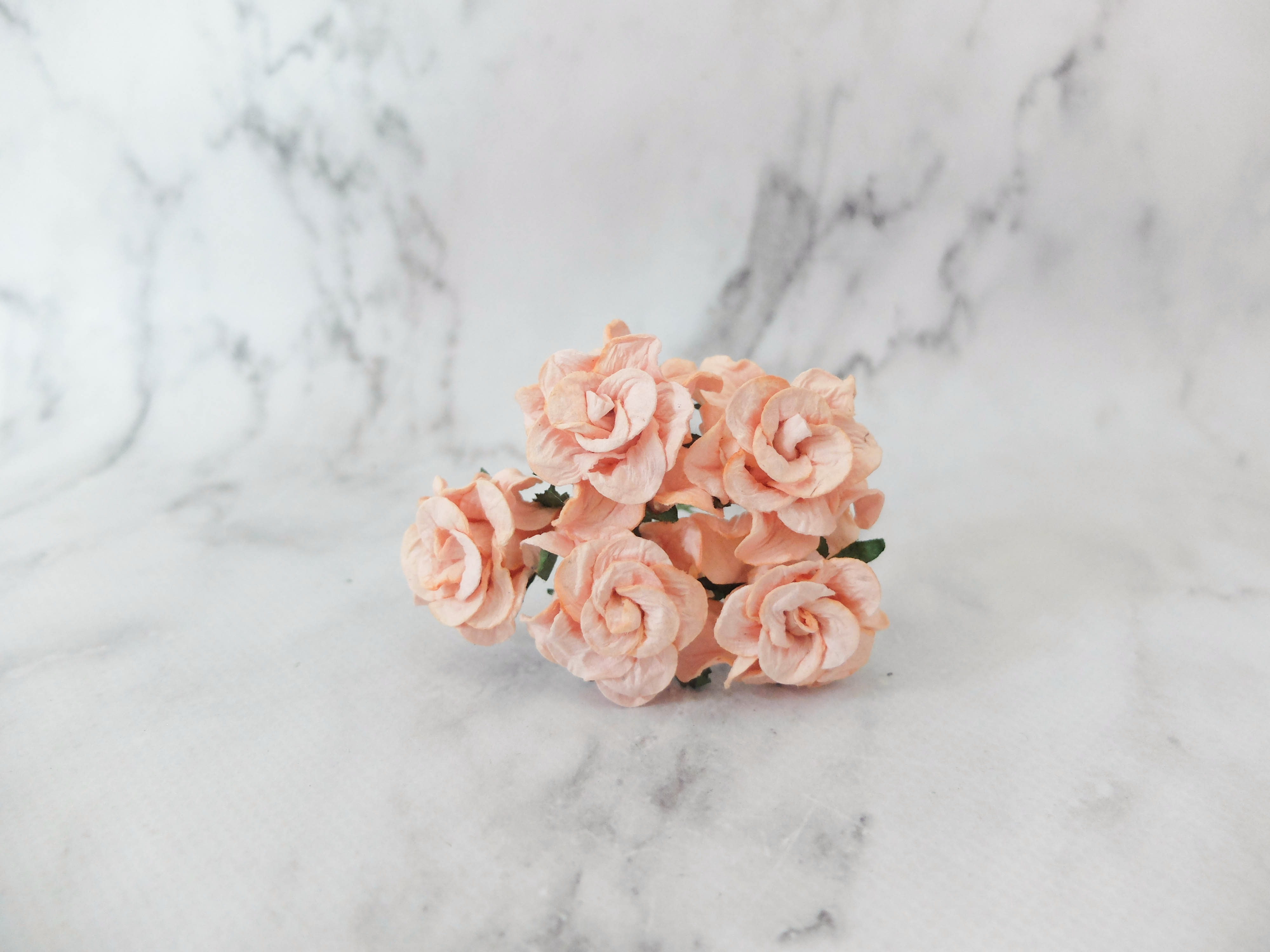 30mm Paper Gardenia Buds 25 Pcs Mulberry Paper Flowers With Wire