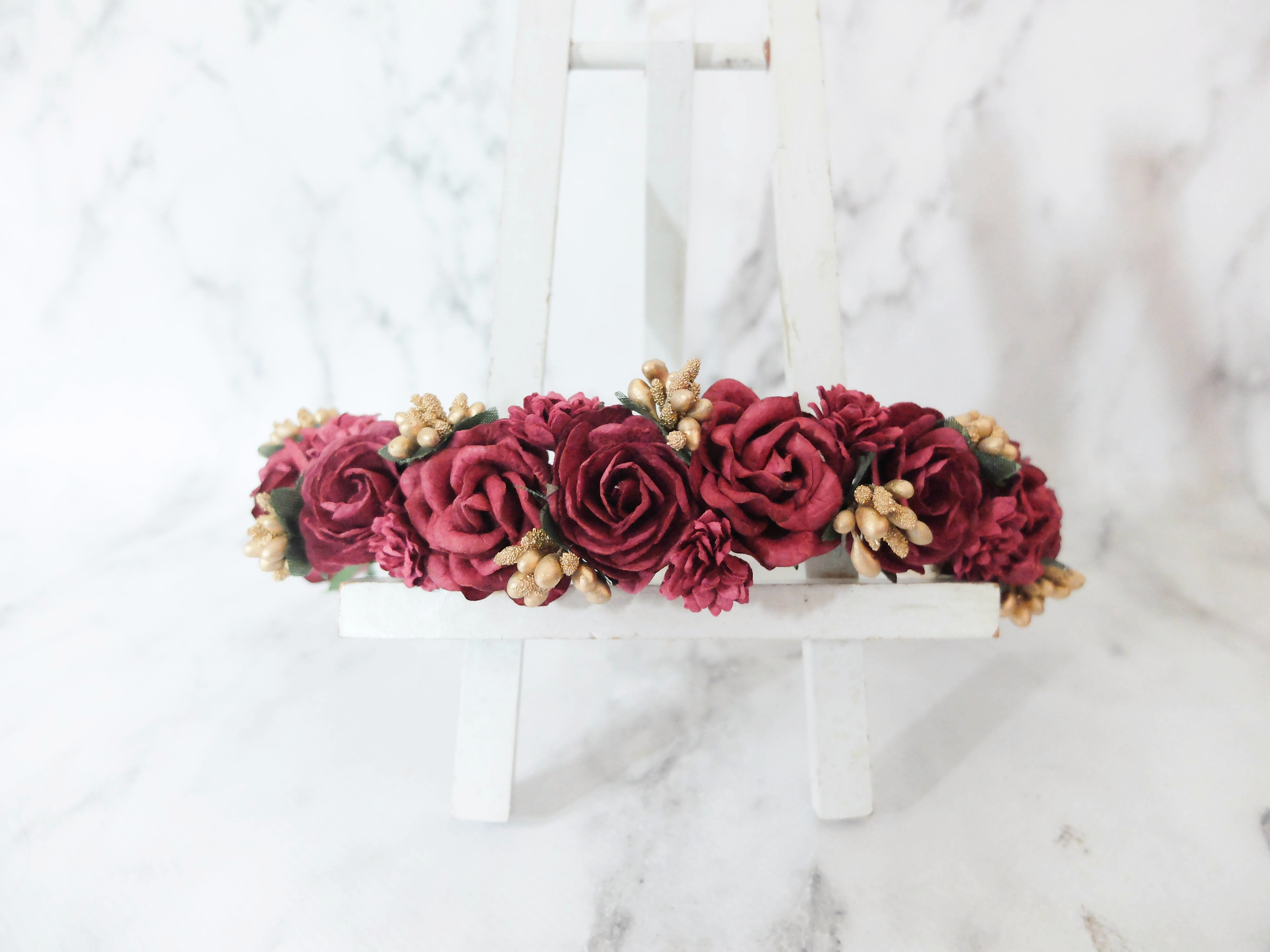 c2cd27b82908 Burgundy gold berries flower wedding hair crown – headpiece – headdress