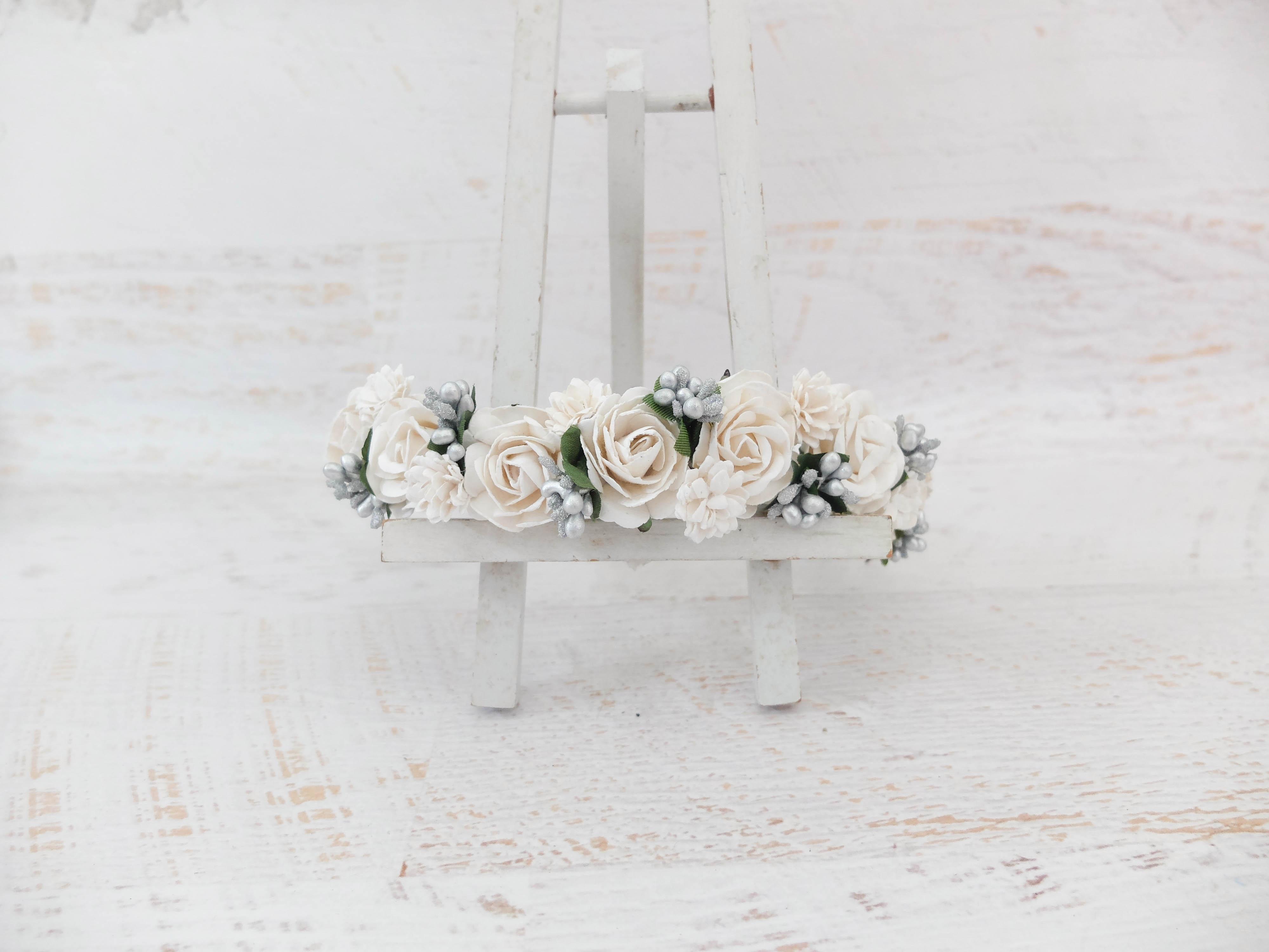 White silver berries flower wedding hair crown headpiece headdress white silver berries flower wedding hair crown izmirmasajfo