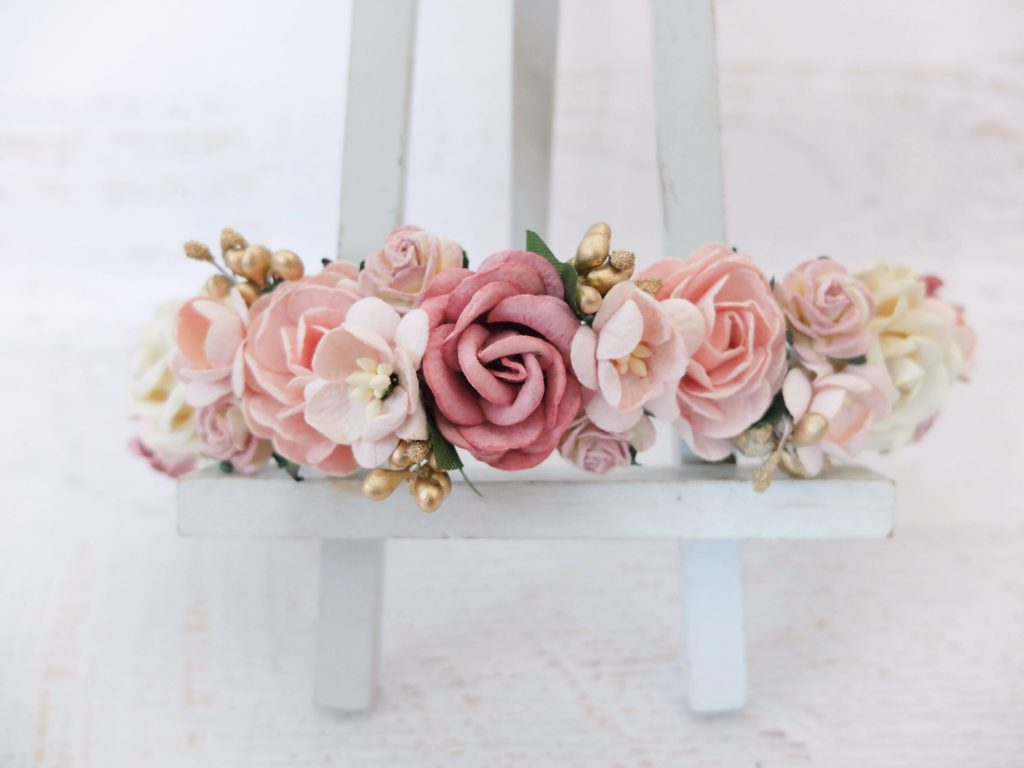 dusty pink blush ivory gold flower crown