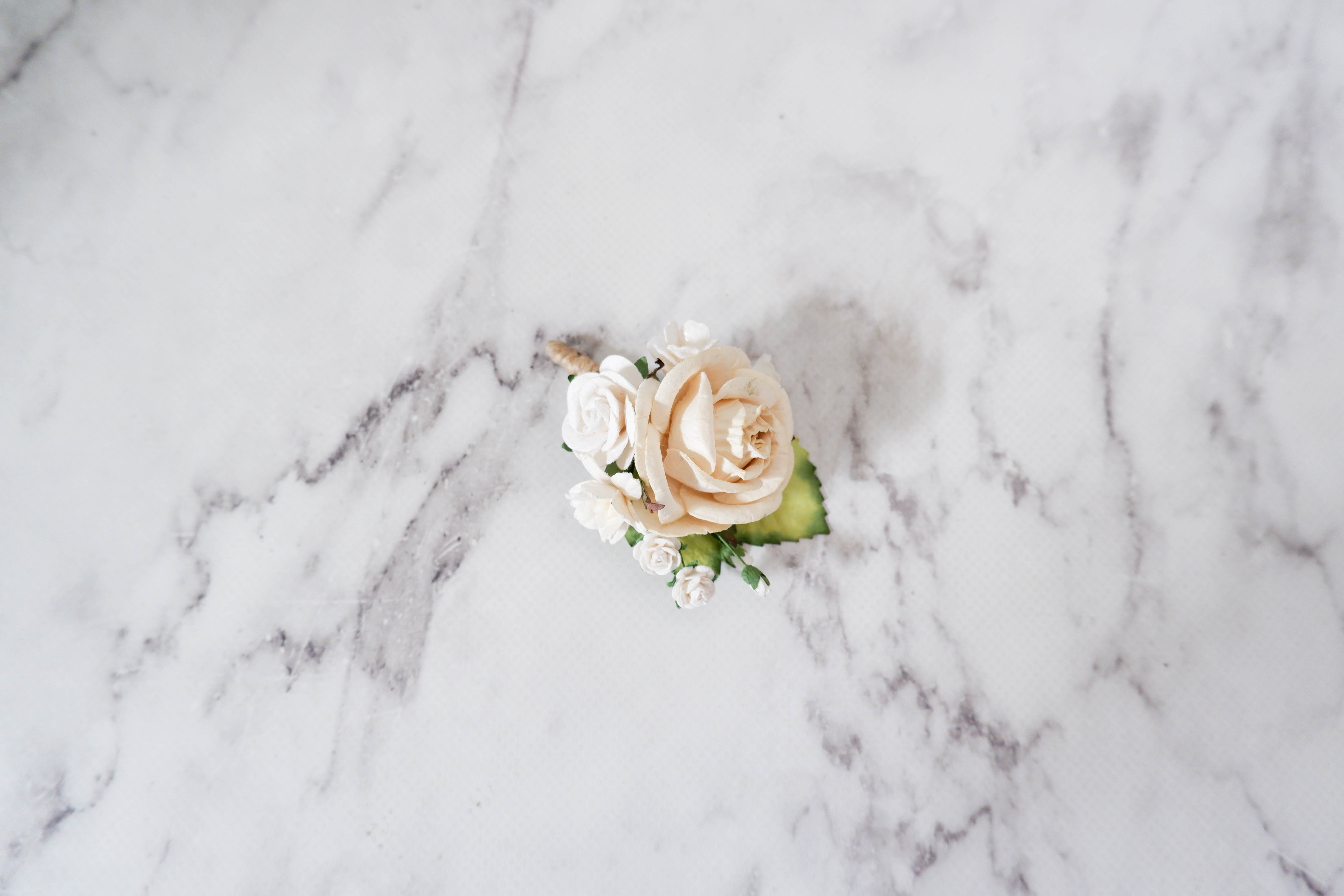 Cream Ivory White Flower Boutonnire Buttonhole Flower Corsage