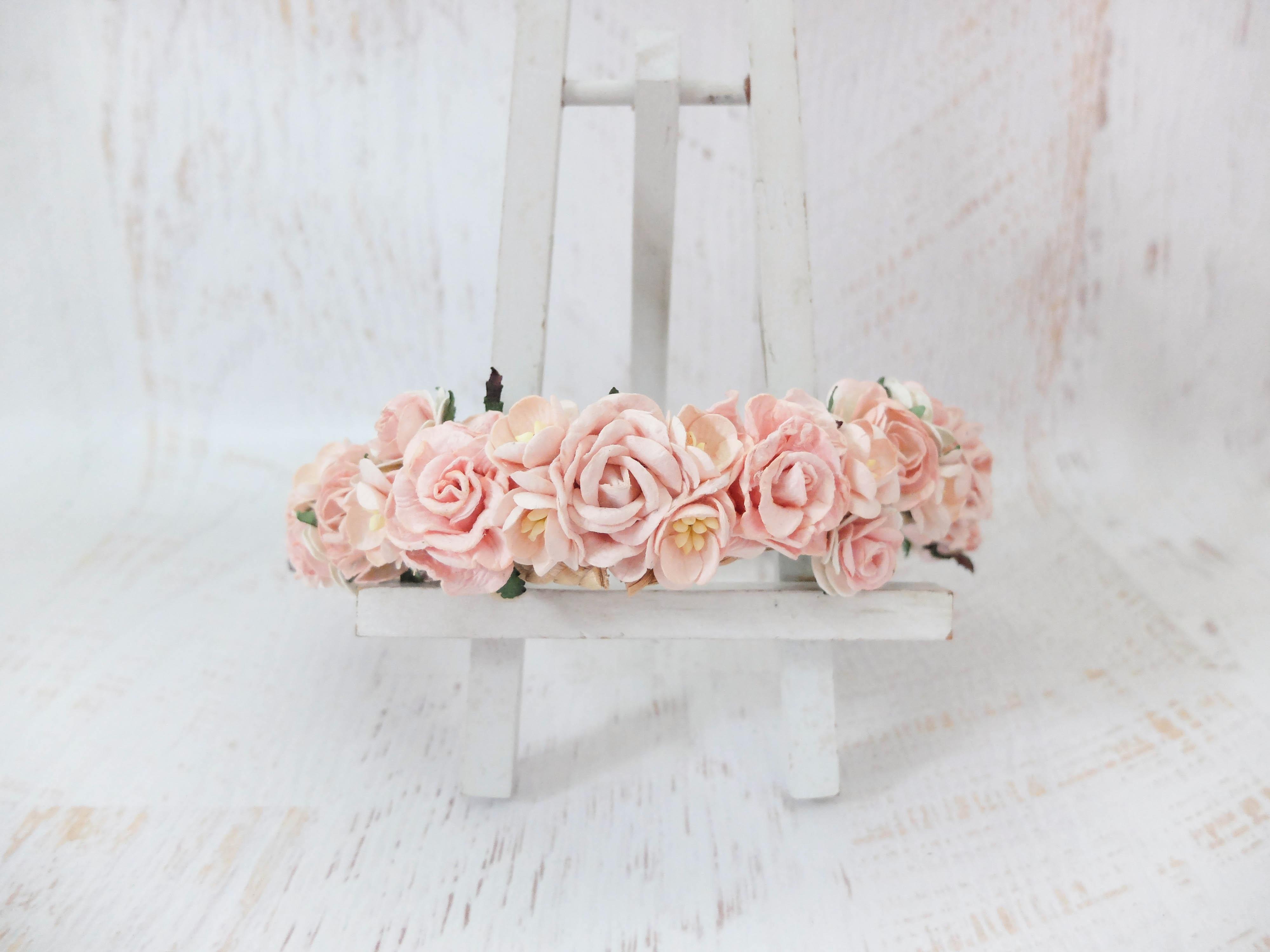 Blush pink flower crown brides flower girls wedding blush pink flower mightylinksfo