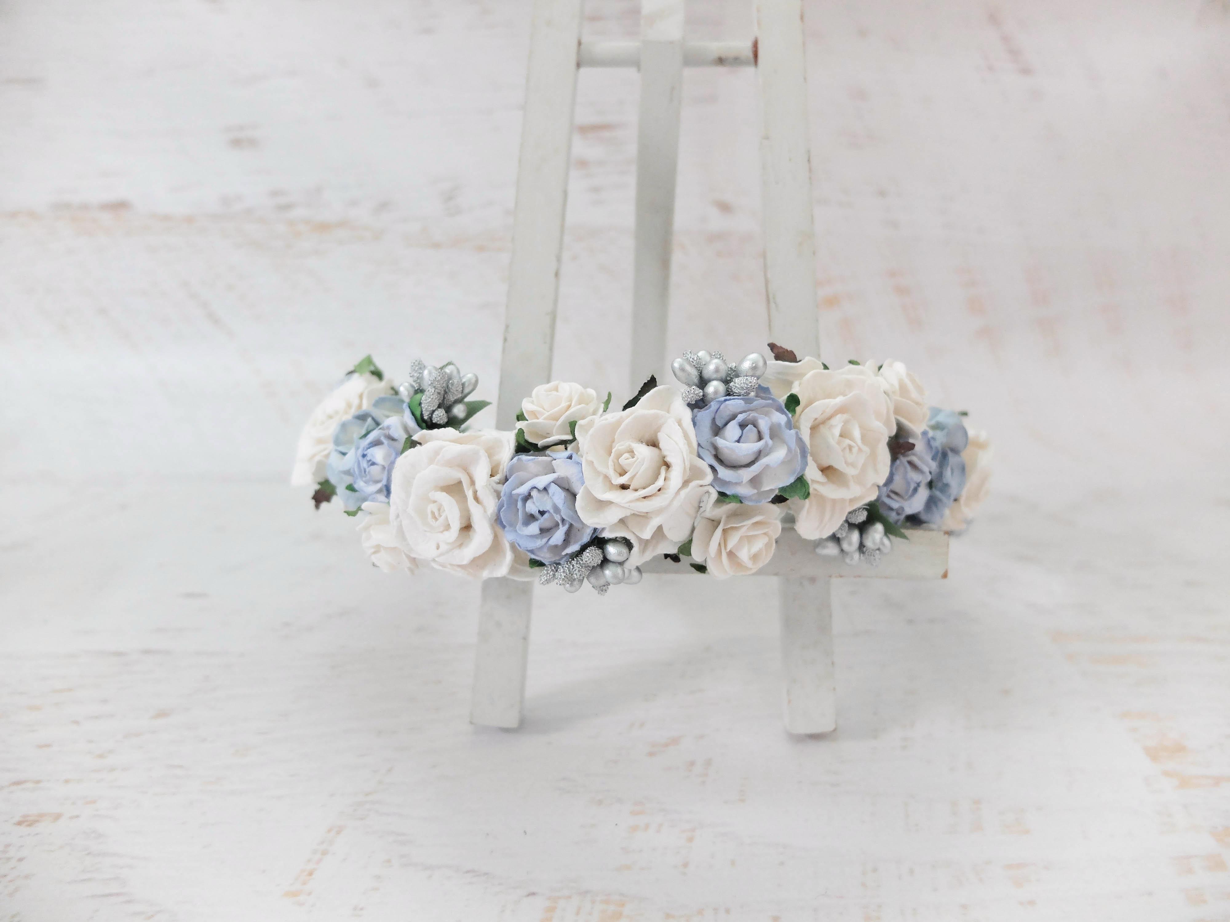 White light blue flower crown headpiece headdress wreath white and light blue flower izmirmasajfo
