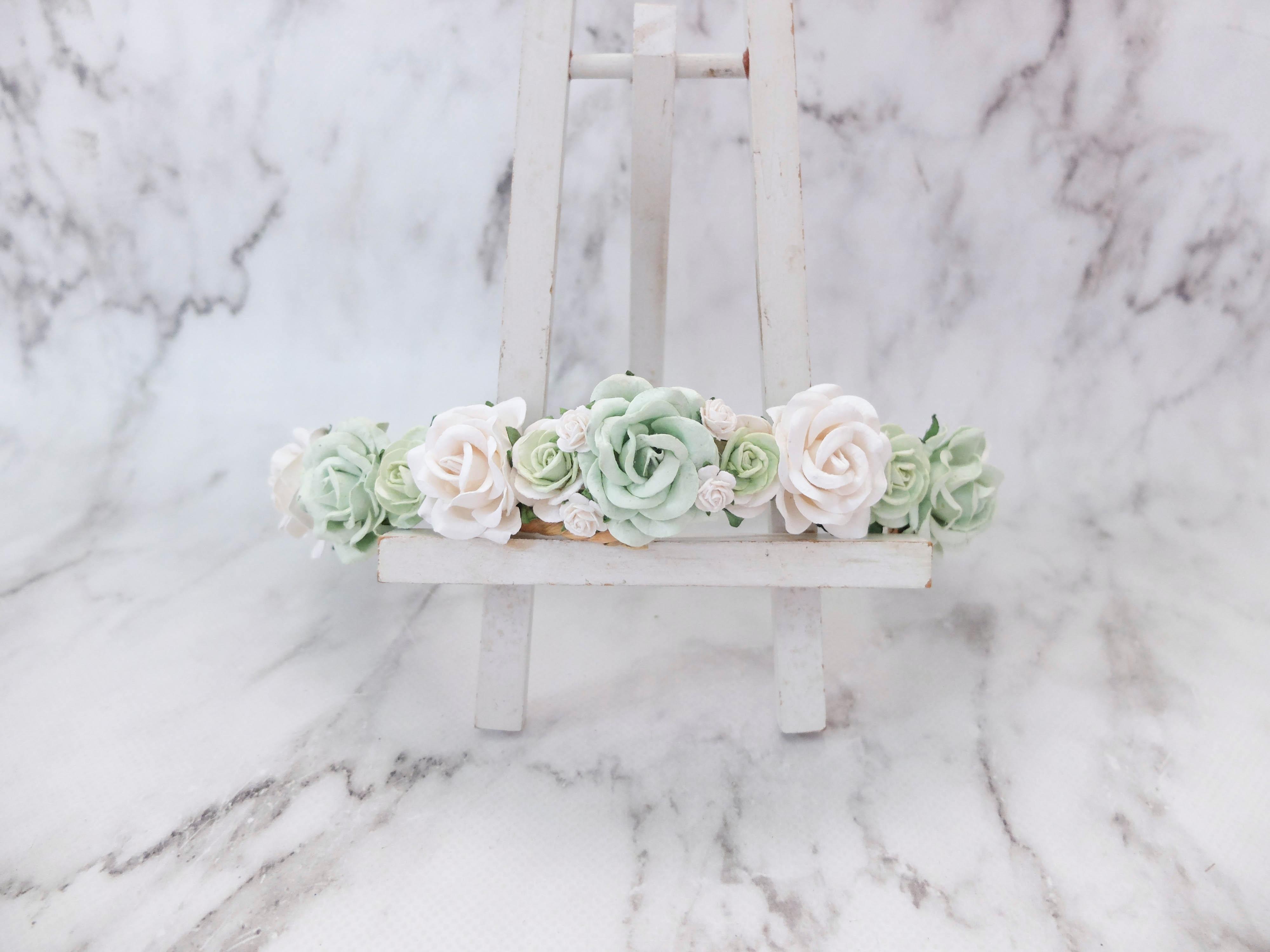 Mint green white flower crown rose head wreath wedding hair izmirmasajfo