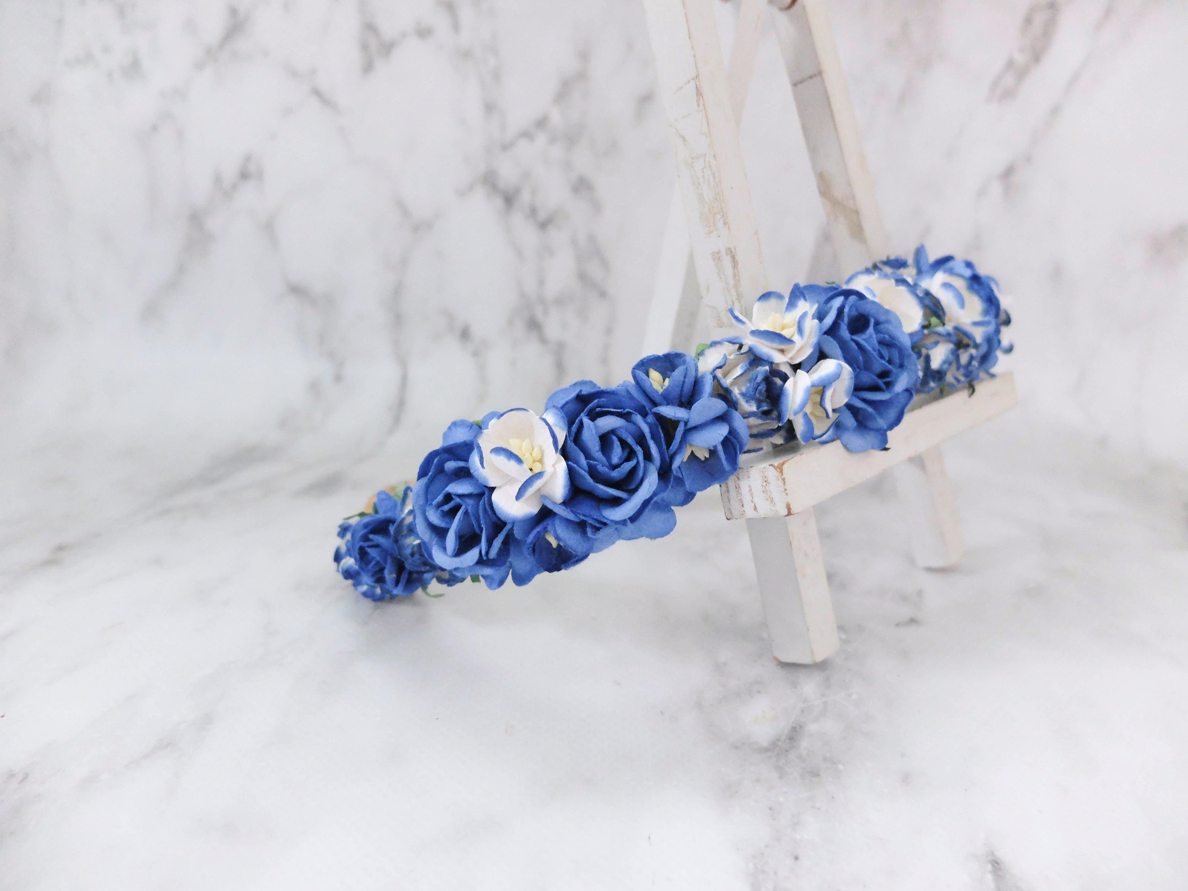 Flower Crown Royal Blue Blue Wedding Hair Accessories Floral