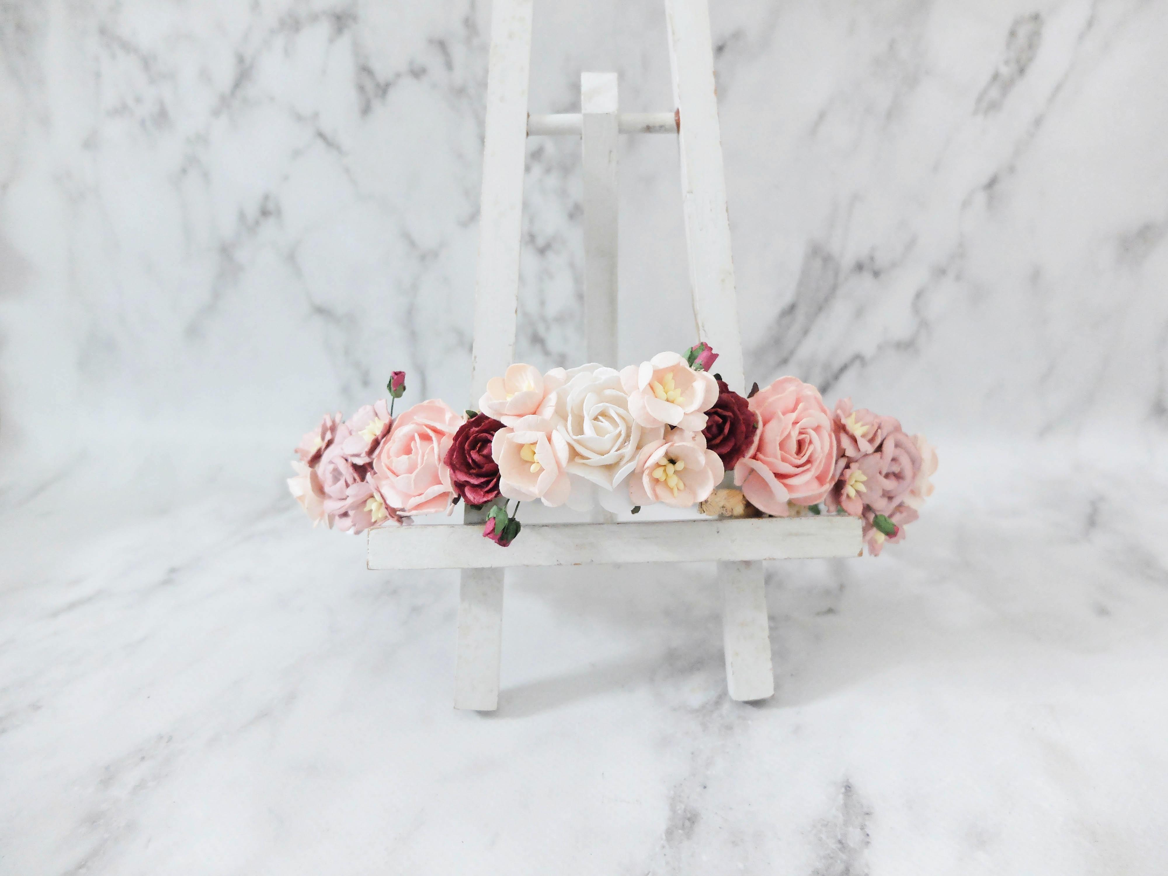Flower Crown Wedding.Blush Burgundy Mauve White Wedding Flower Crown Bridal Floral Headpiece Flower Girls Bridesmaids