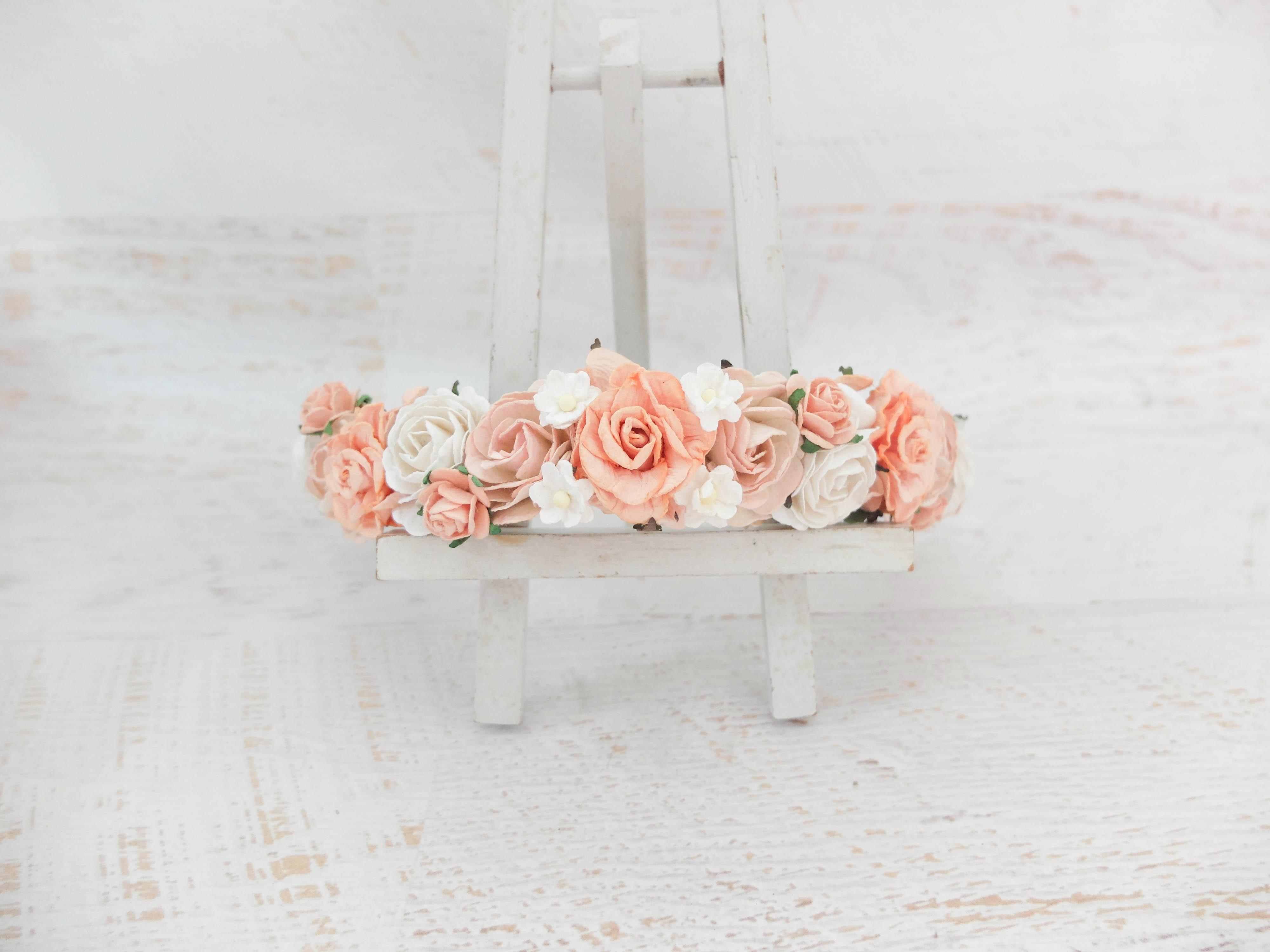 Ivory peach wedding flower crown headpiece hair wreath peach white flower crown izmirmasajfo