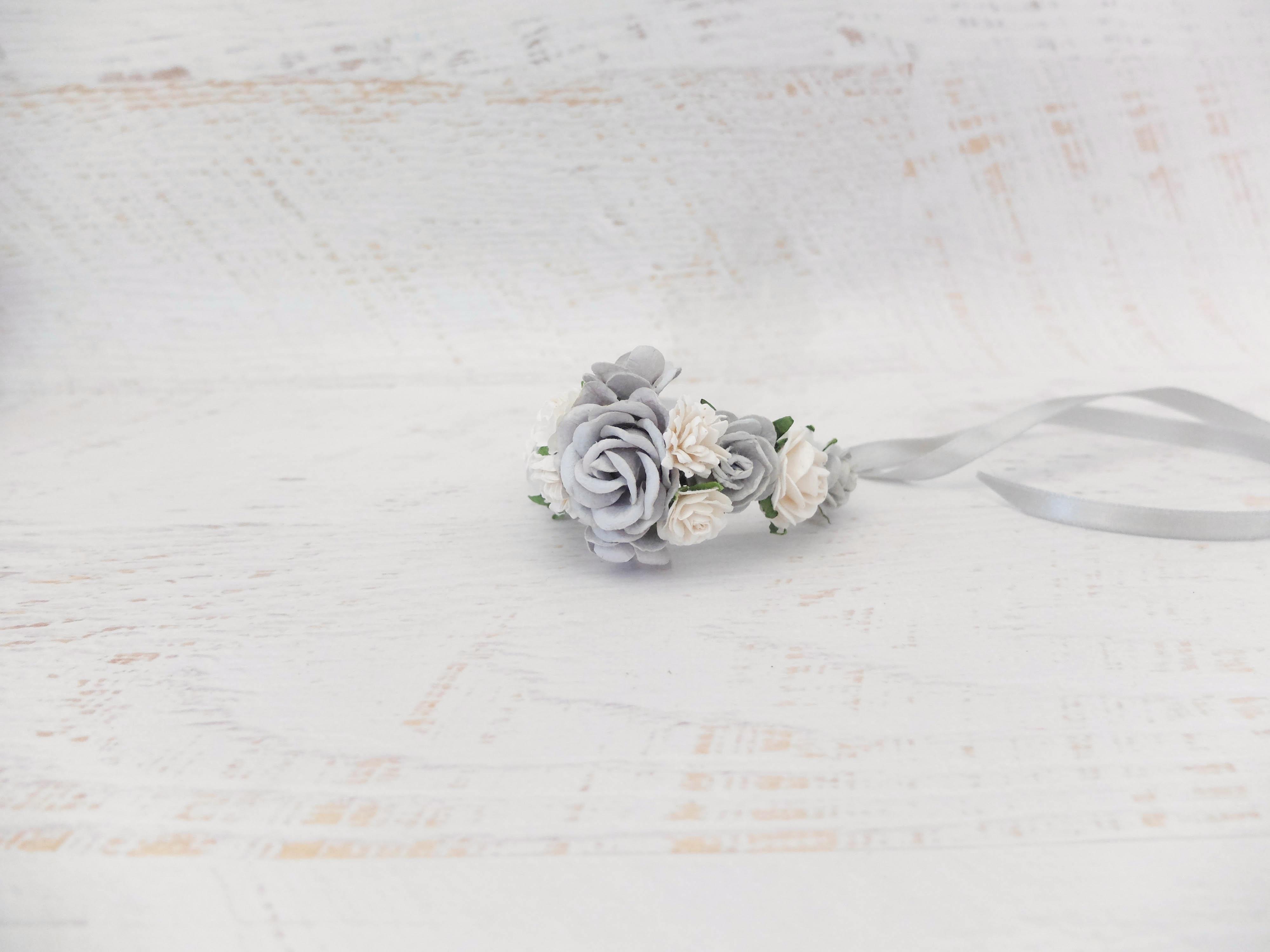 15083f072 Light grey white bridal floral bracelet bridesmaids flower girls mother